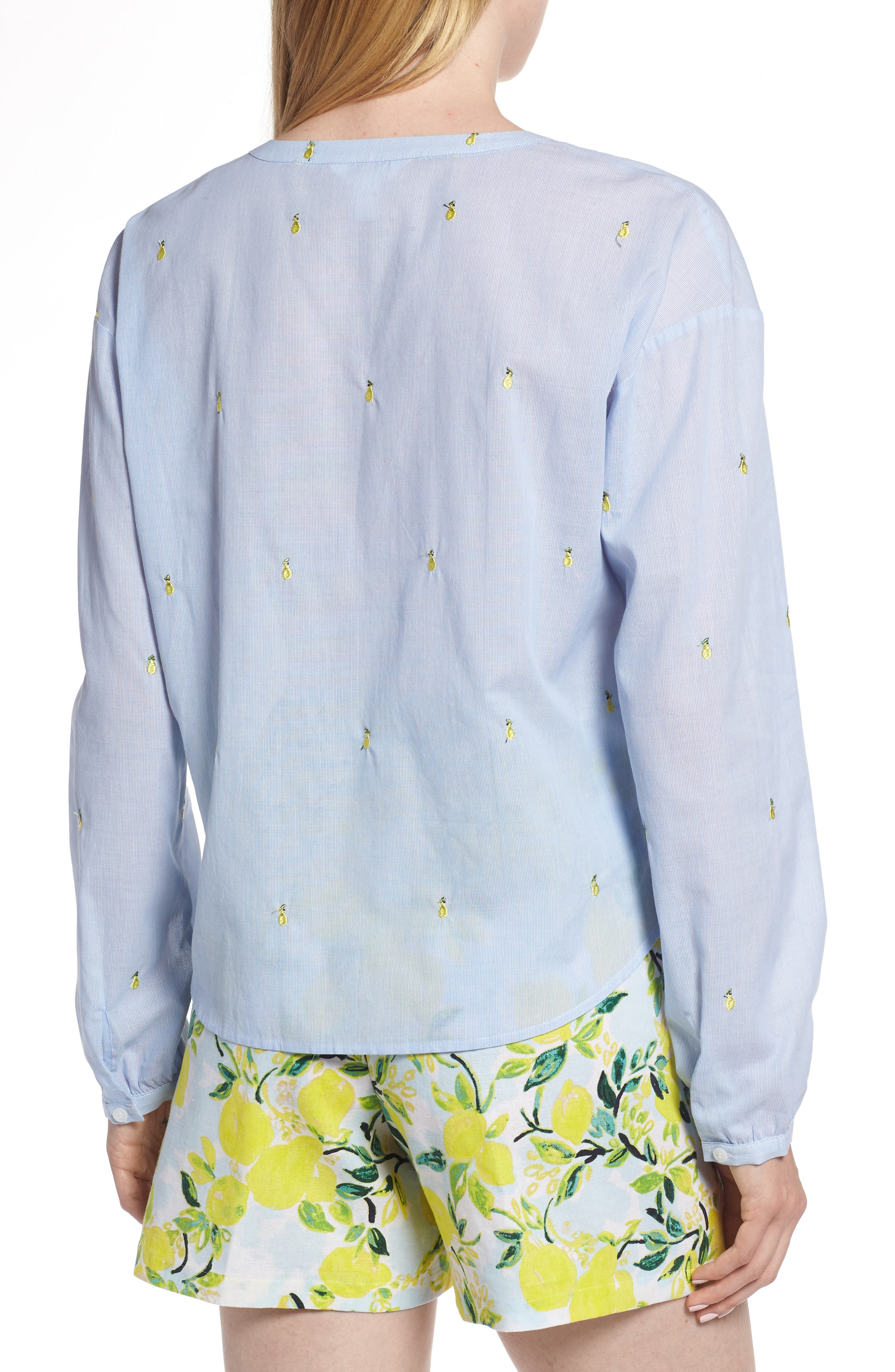Embroidery Tie Front Cotton Top,                             Alternate thumbnail 2, color,                             Blue Mini Pear