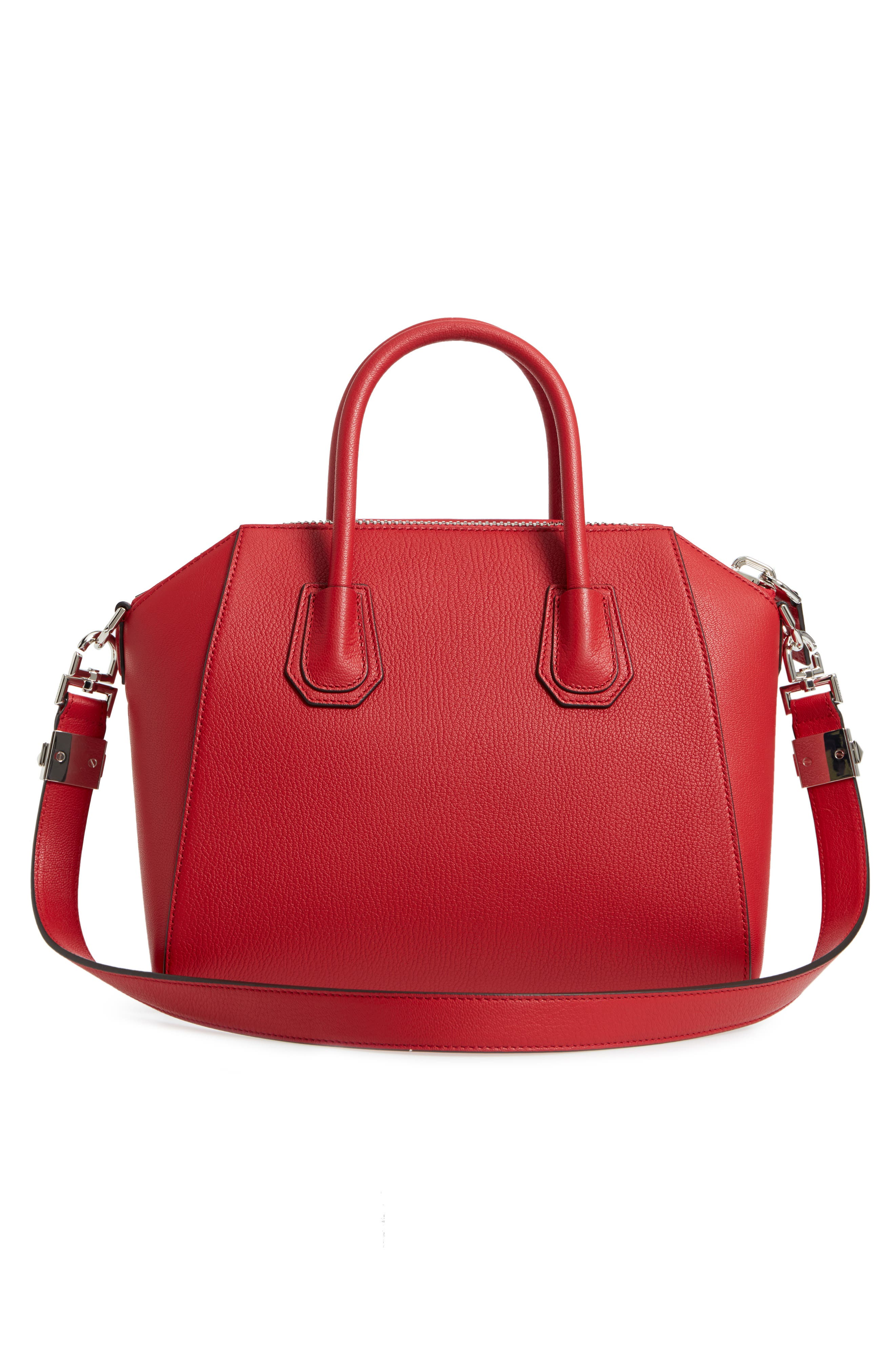 'Small Antigona' Leather Satchel,                             Alternate thumbnail 3, color,                             Bright Red