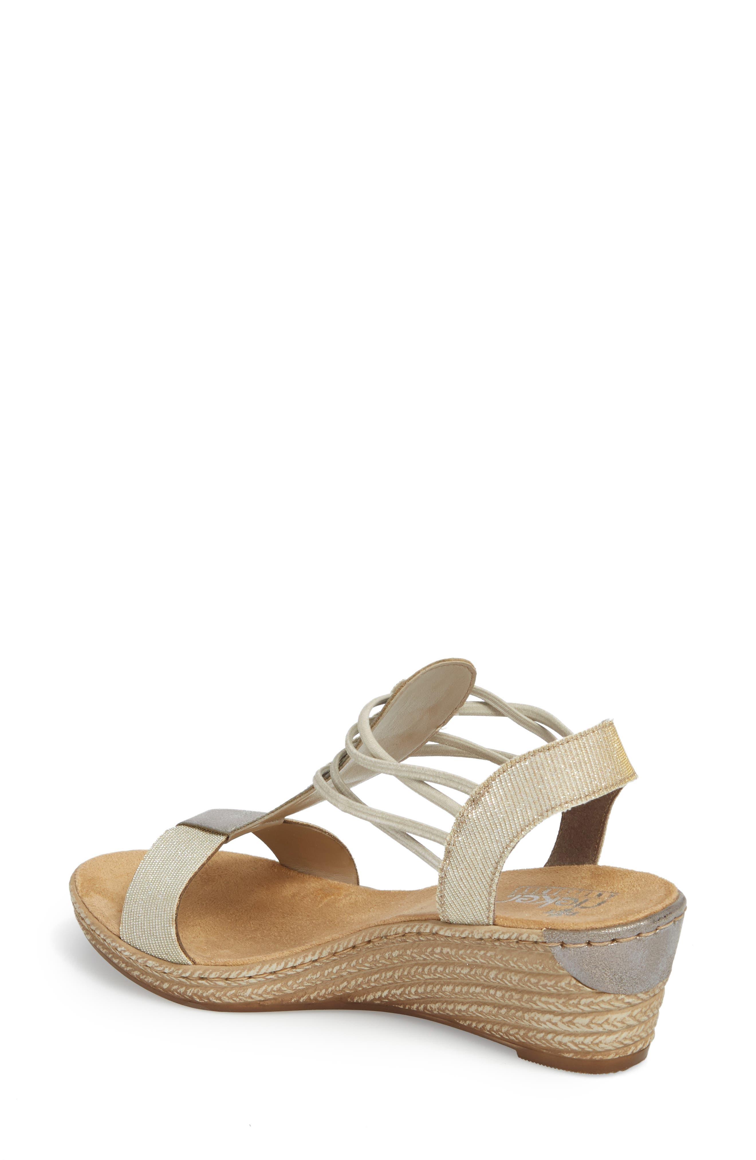 Fanni 22 Espadrille Wedge Sandal,                             Alternate thumbnail 2, color,                             Light Gold/ Grey Fabric
