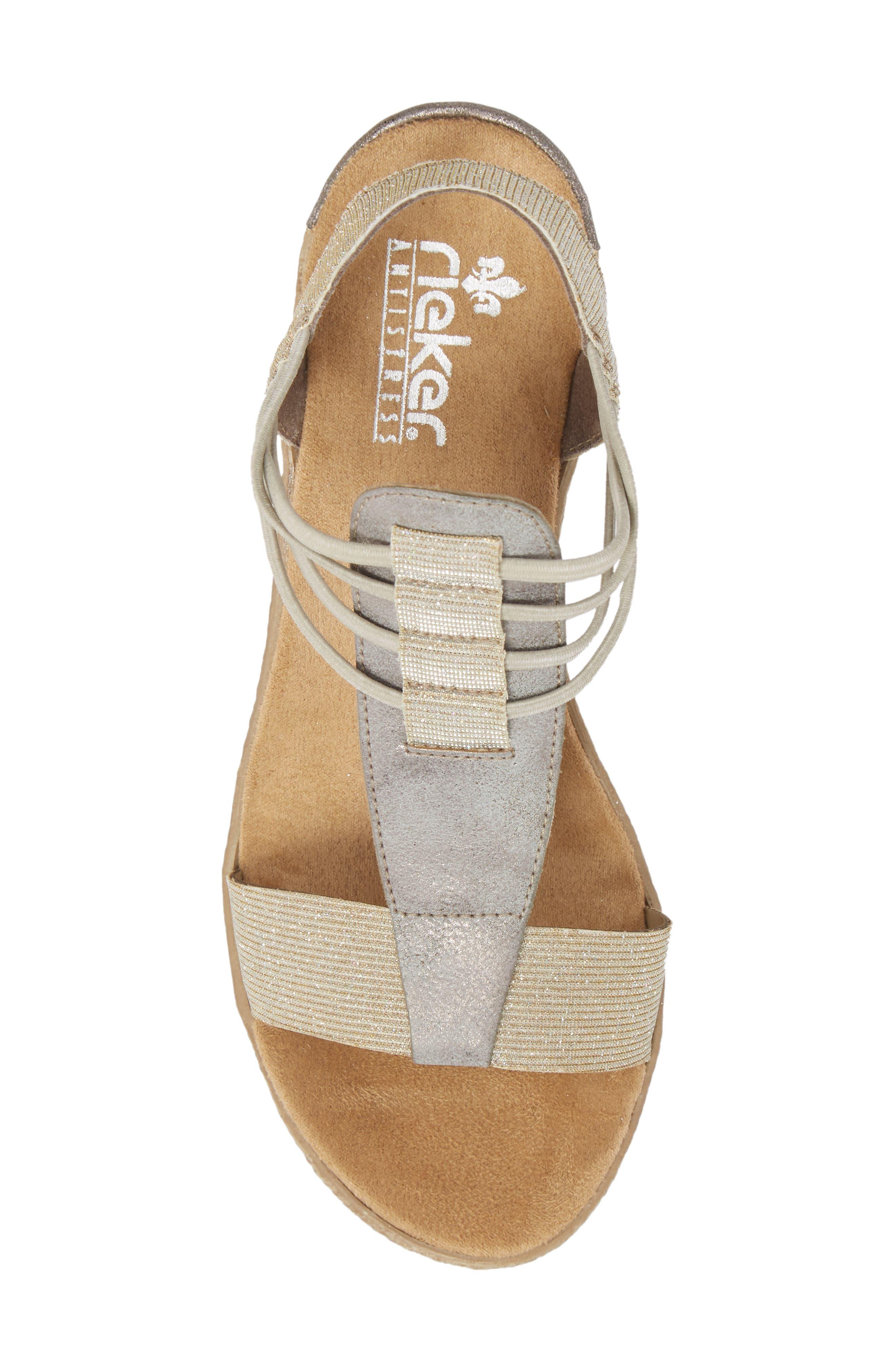 Fanni 22 Espadrille Wedge Sandal,                             Alternate thumbnail 5, color,                             Light Gold/ Grey Fabric