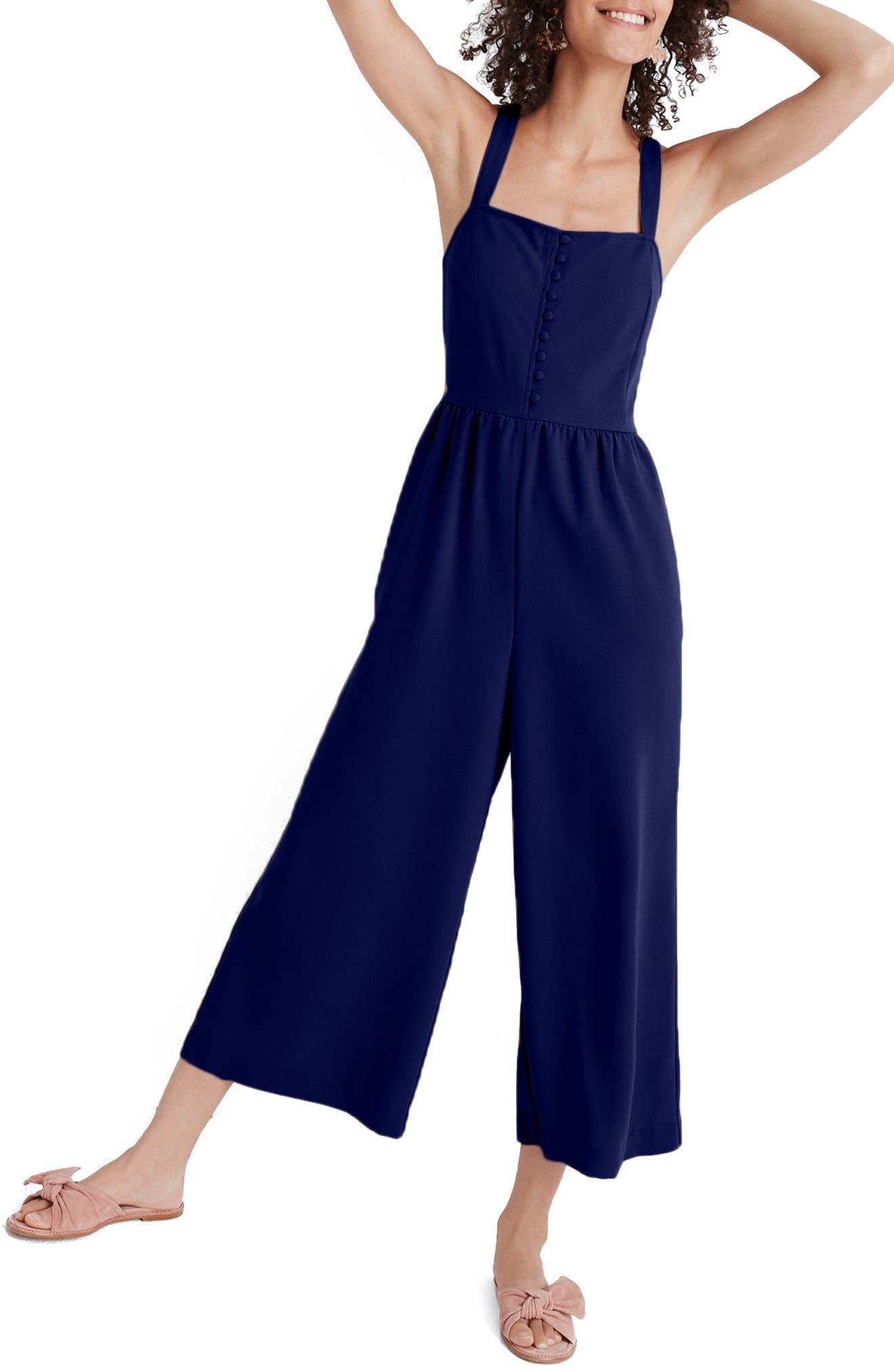 Smocked Button Front Crop Jumpsuit,                         Main,                         color, Nightfall