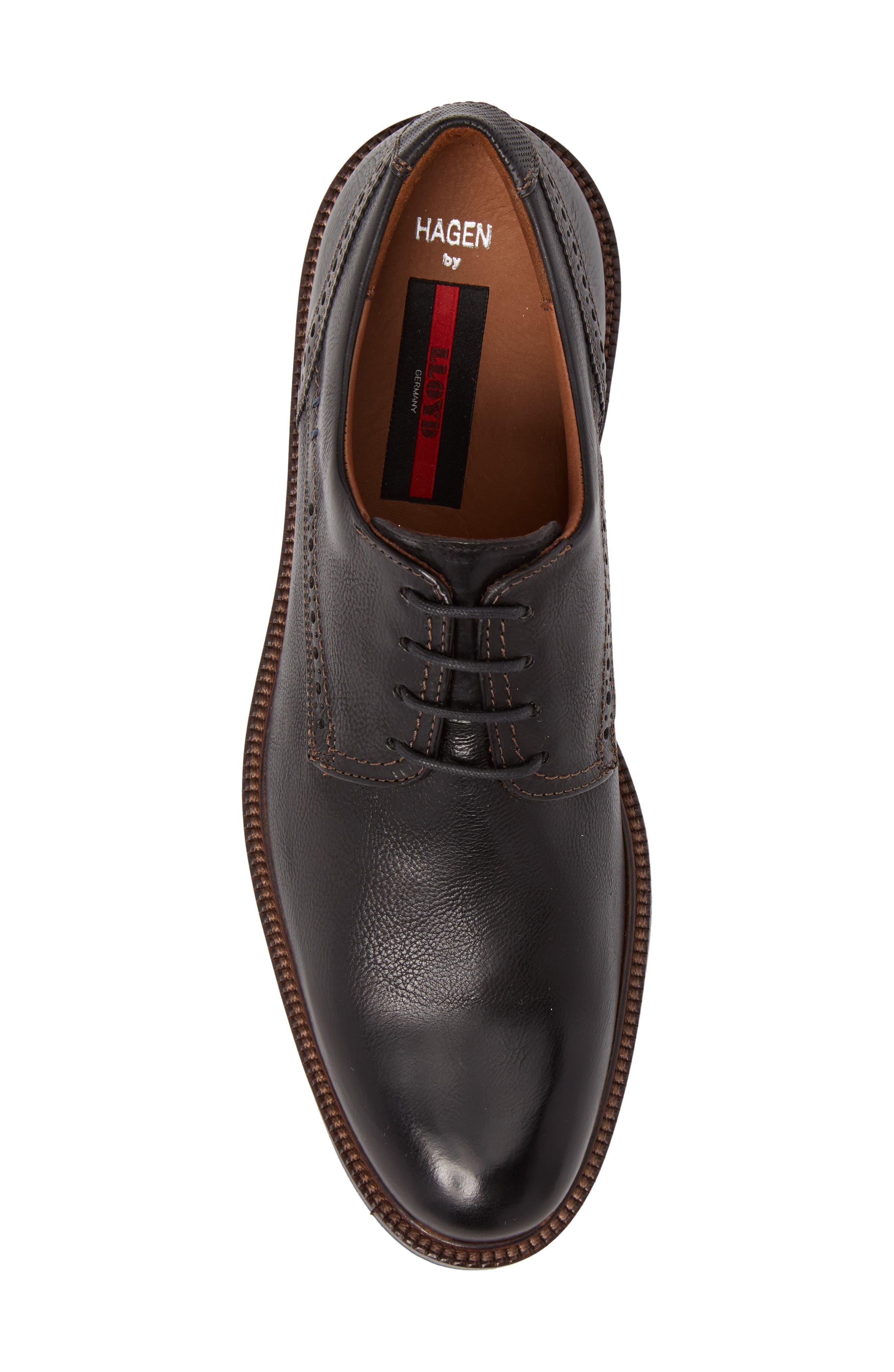 Hagen Plain Toe Derby,                             Alternate thumbnail 5, color,                             Black Leather