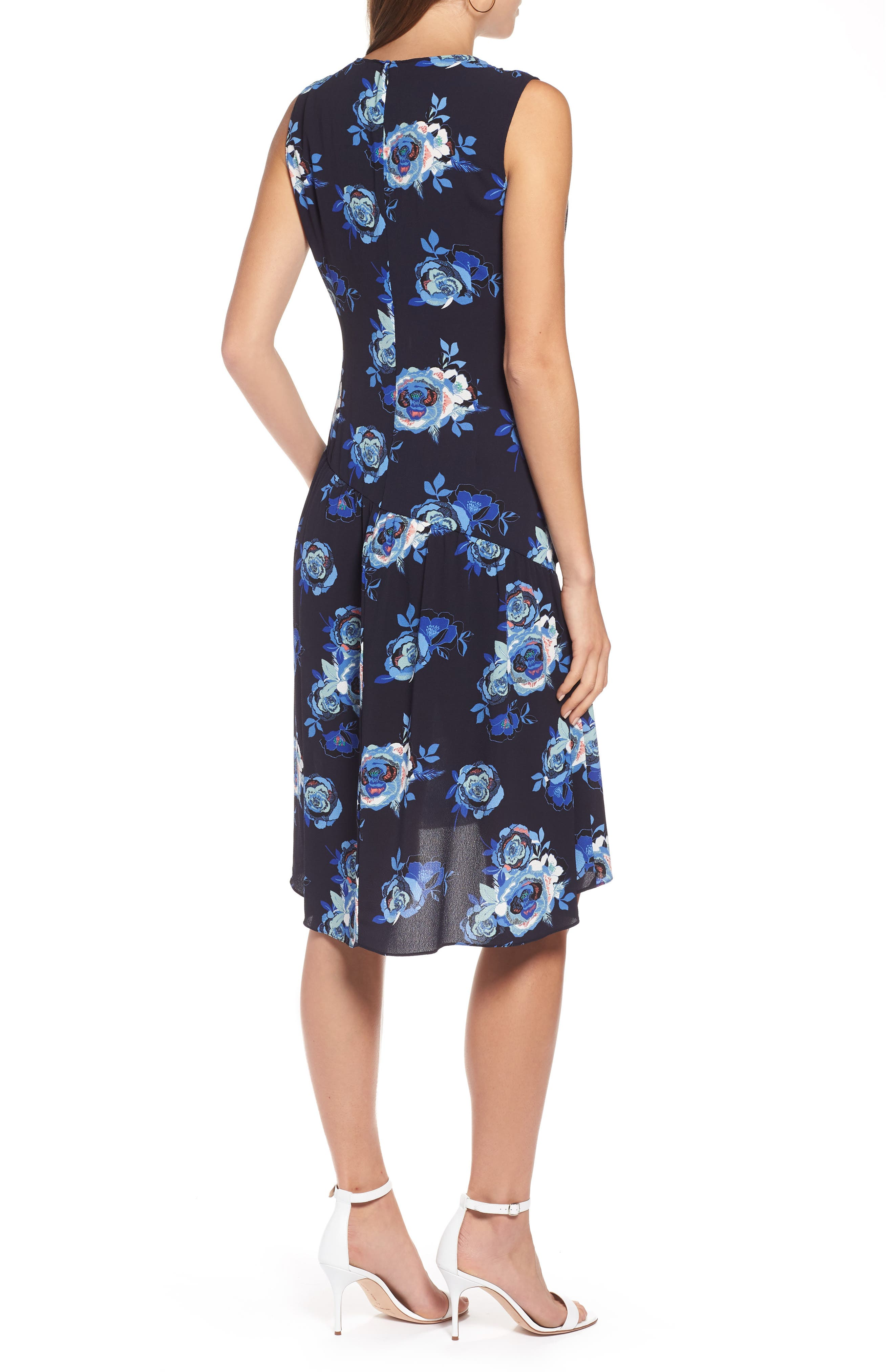 Sleeveless Ruched Dress,                             Alternate thumbnail 2, color,                             Navy- Blue Rose Print