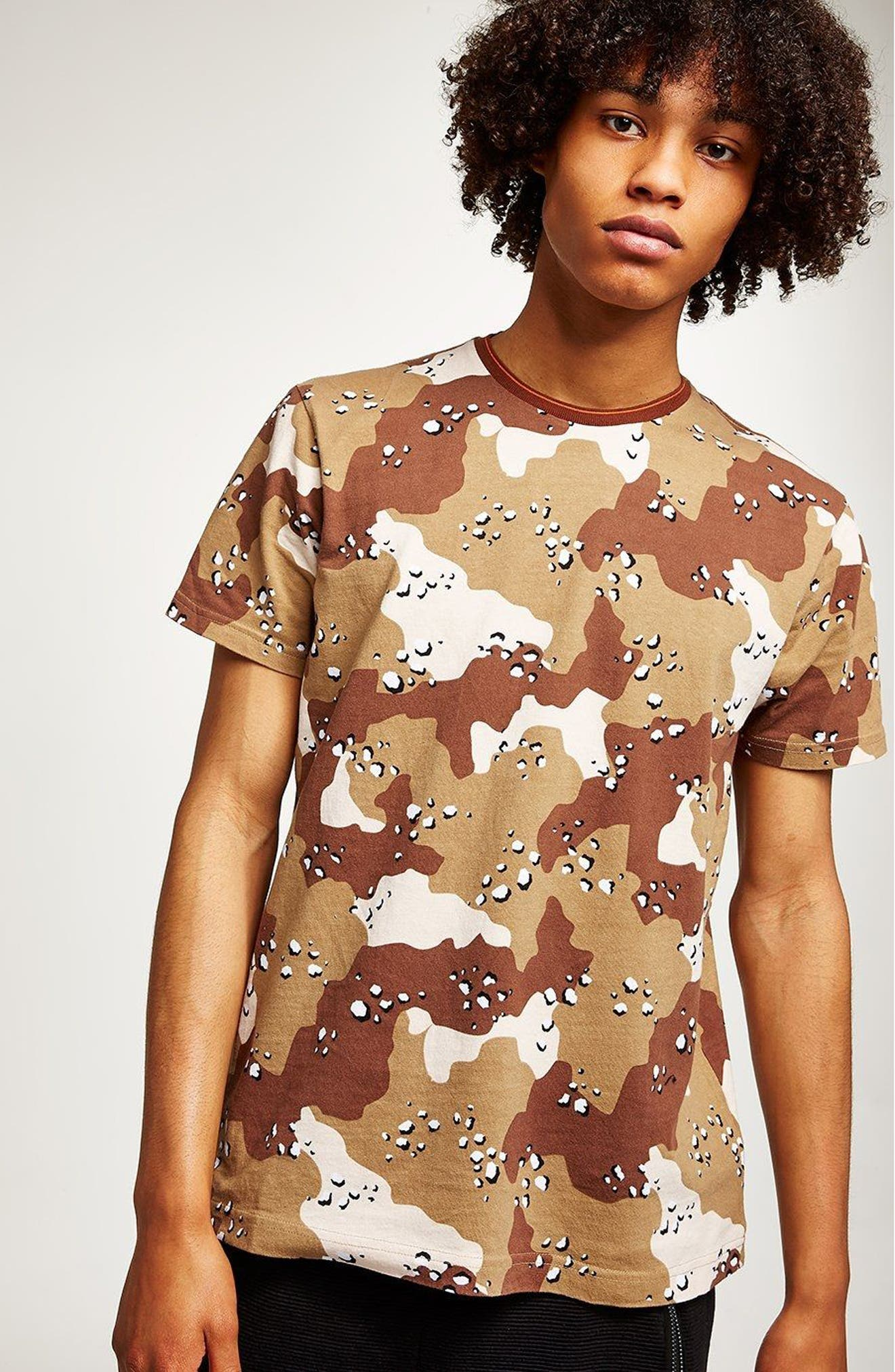 Camouflage Graphic T-Shirt,                             Alternate thumbnail 4, color,                             Beige Multi