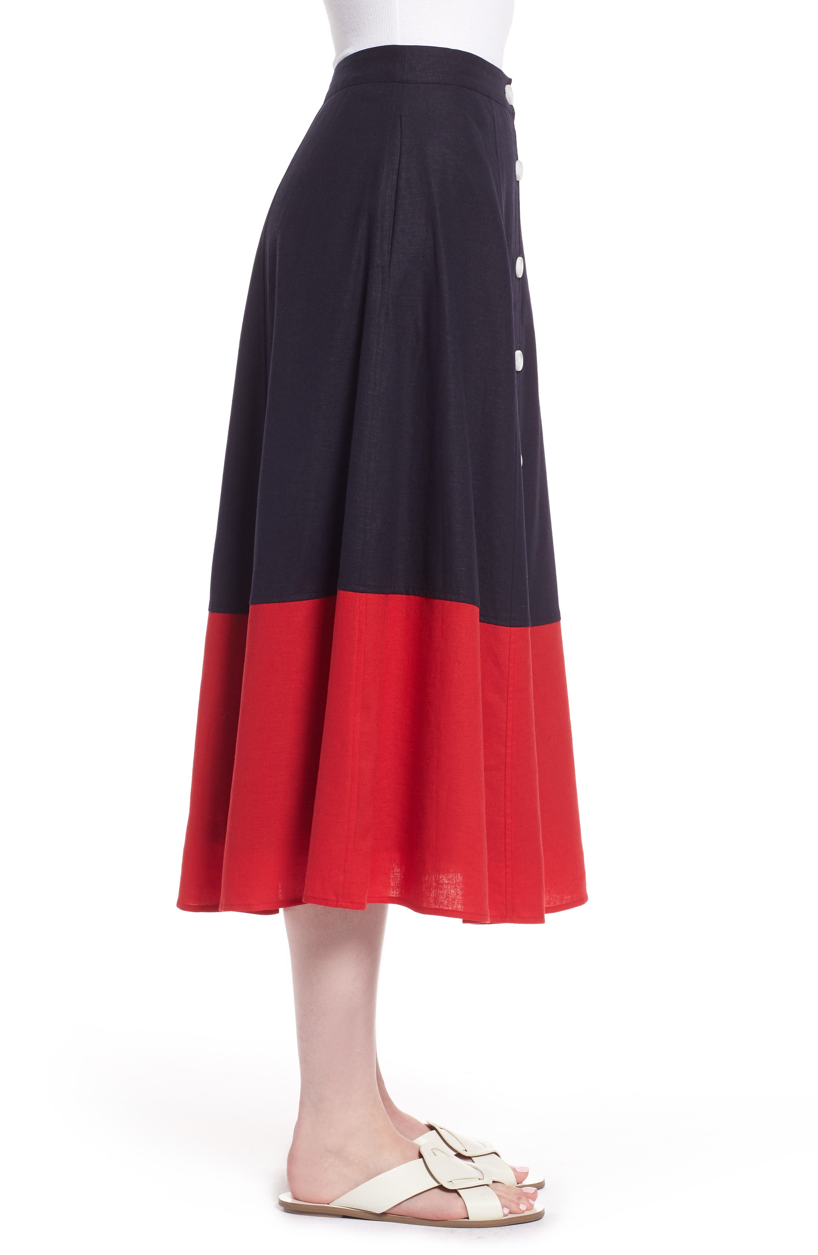 Colorblock Linen Blend Skirt,                             Alternate thumbnail 3, color,                             Navy- Red Colorblock