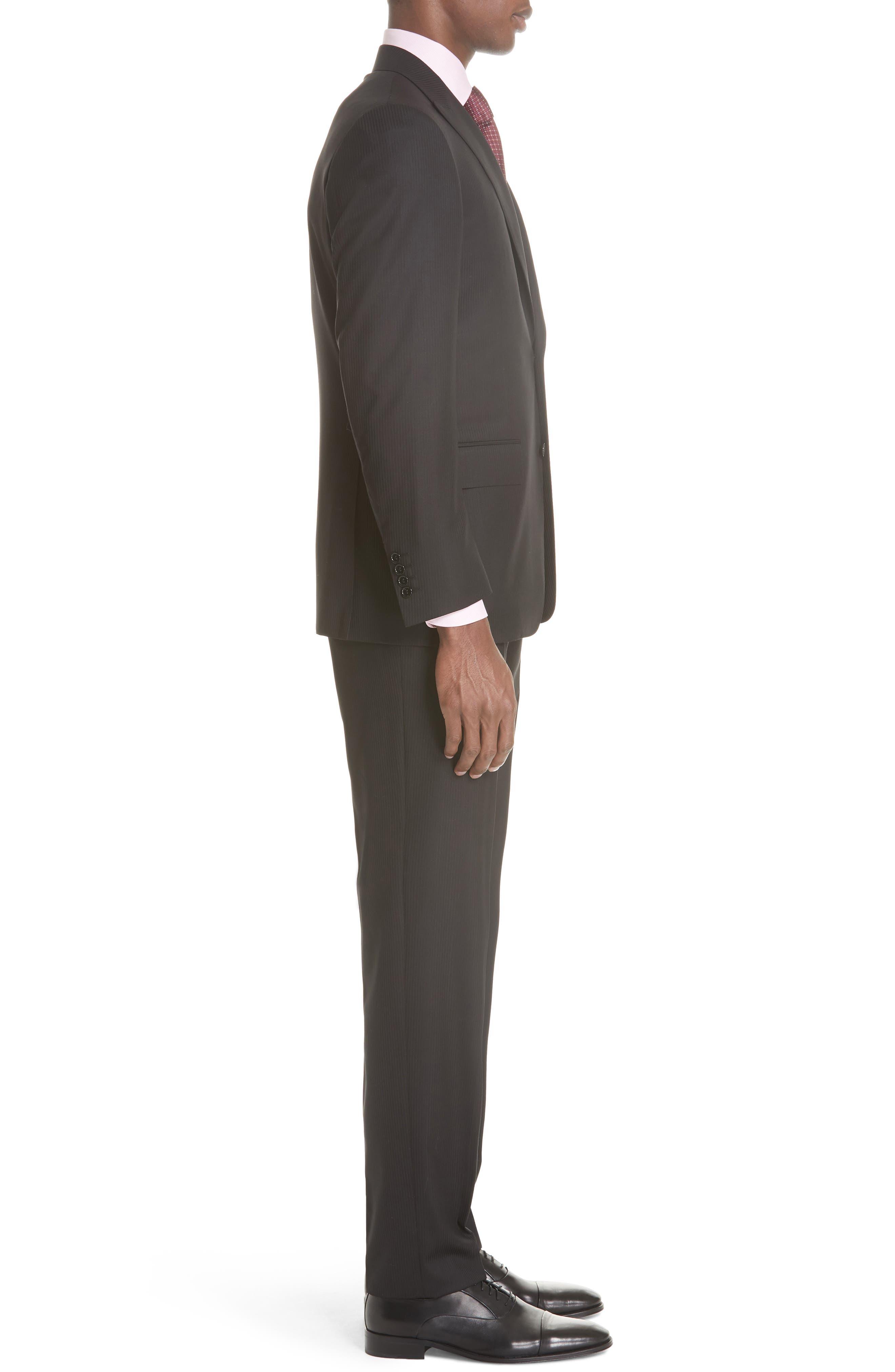 Siena Classic Fit Stripe Wool Suit,                             Alternate thumbnail 3, color,                             Black