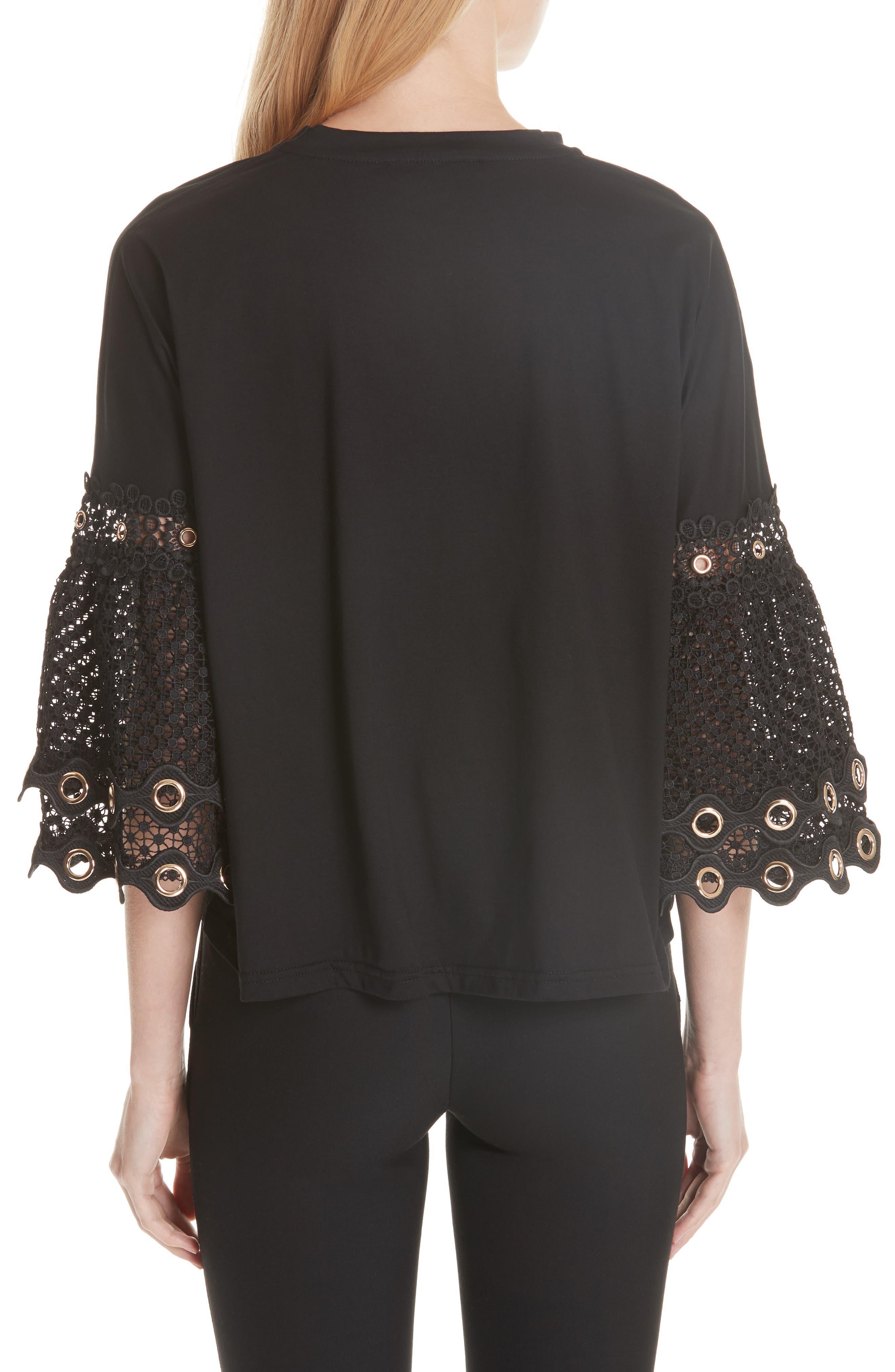 Lace Sleeve Top,                             Alternate thumbnail 2, color,                             Black