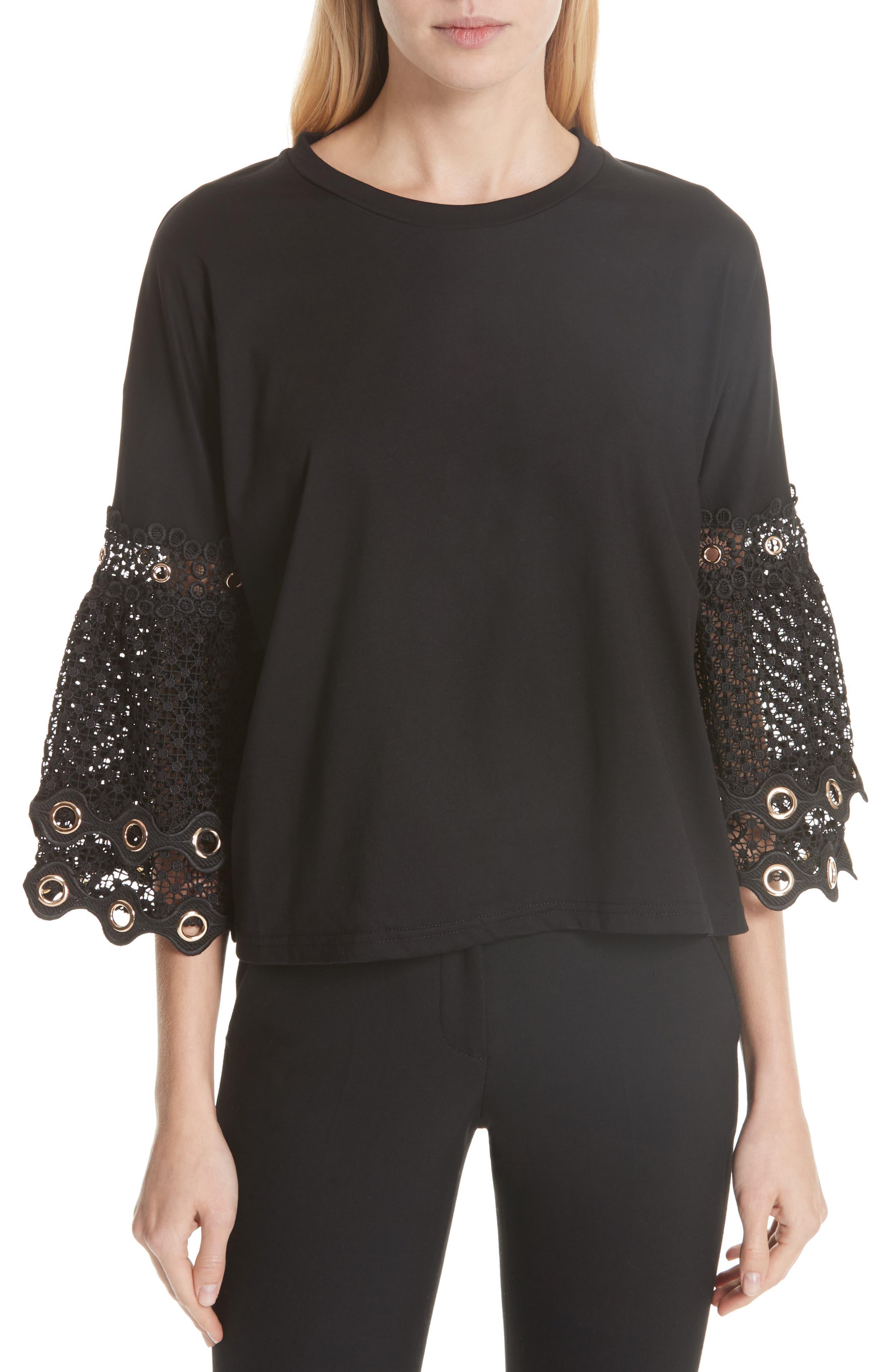 Lace Sleeve Top,                             Main thumbnail 1, color,                             Black