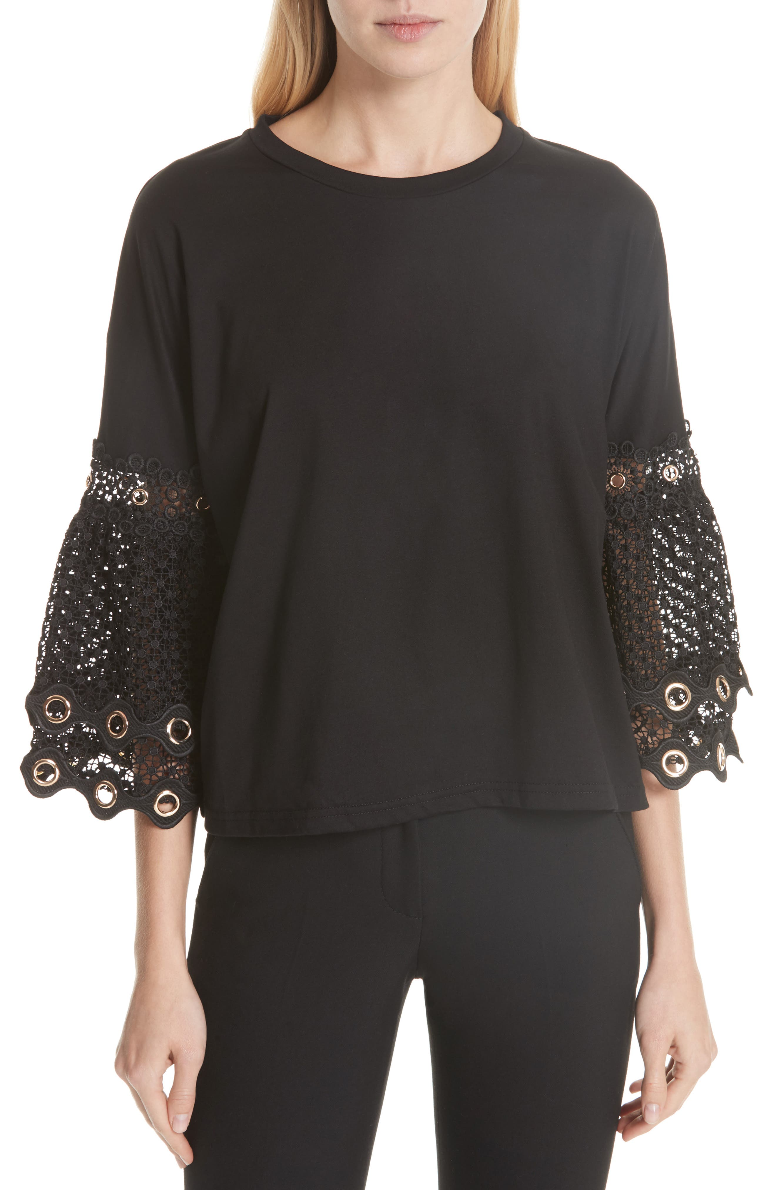 Lace Sleeve Top,                         Main,                         color, Black