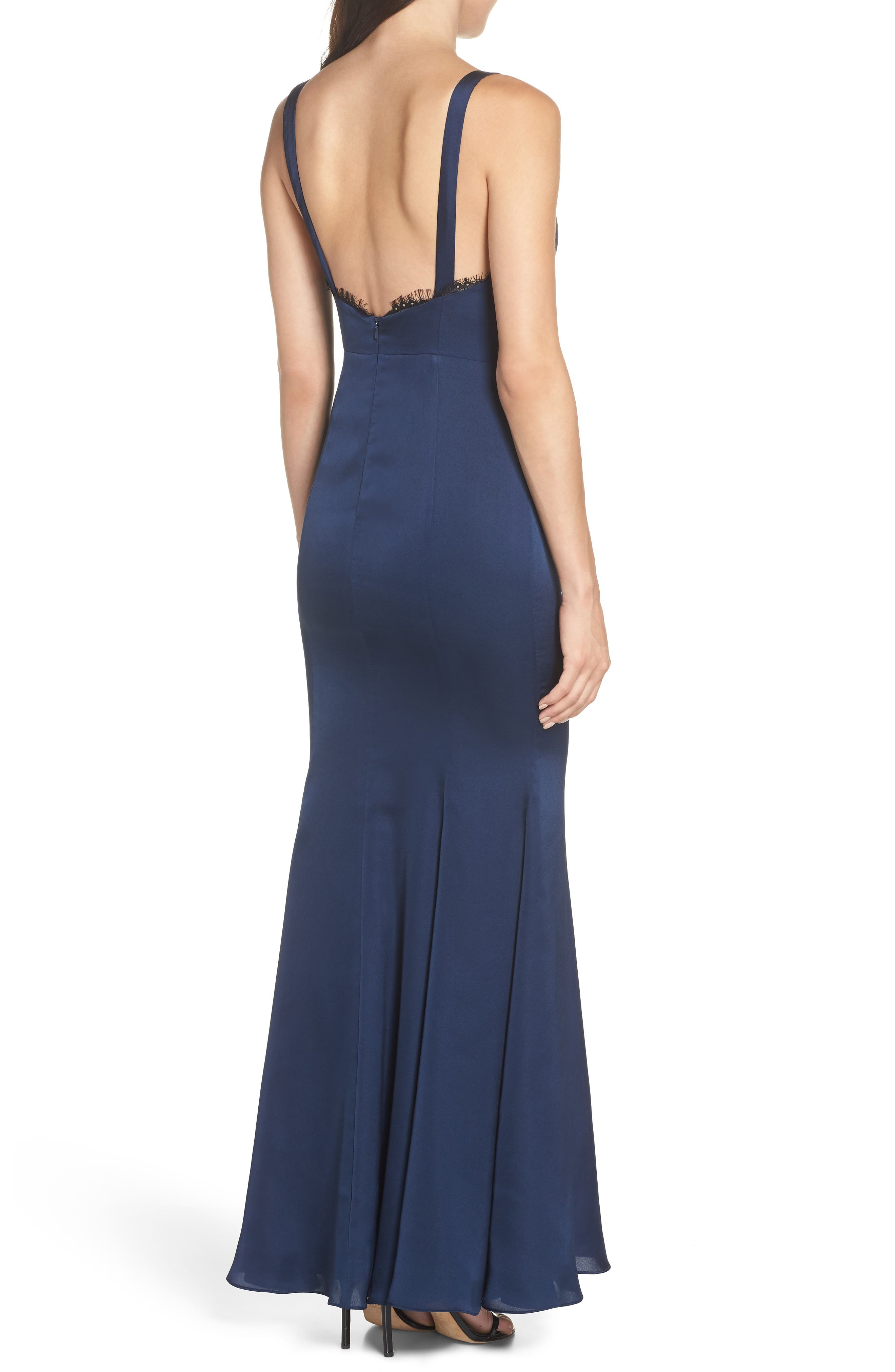 The Ara Trumpet Gown,                             Alternate thumbnail 2, color,                             Navy