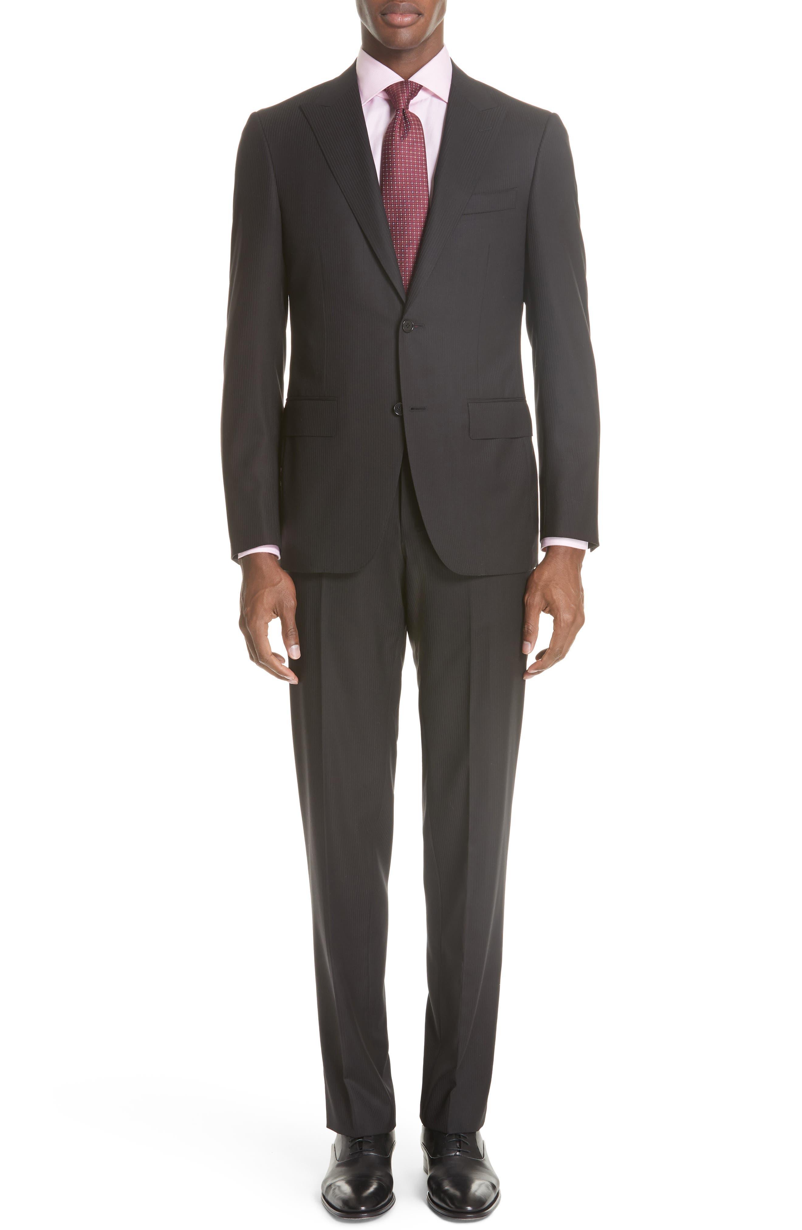 Siena Classic Fit Stripe Wool Suit,                         Main,                         color, Black