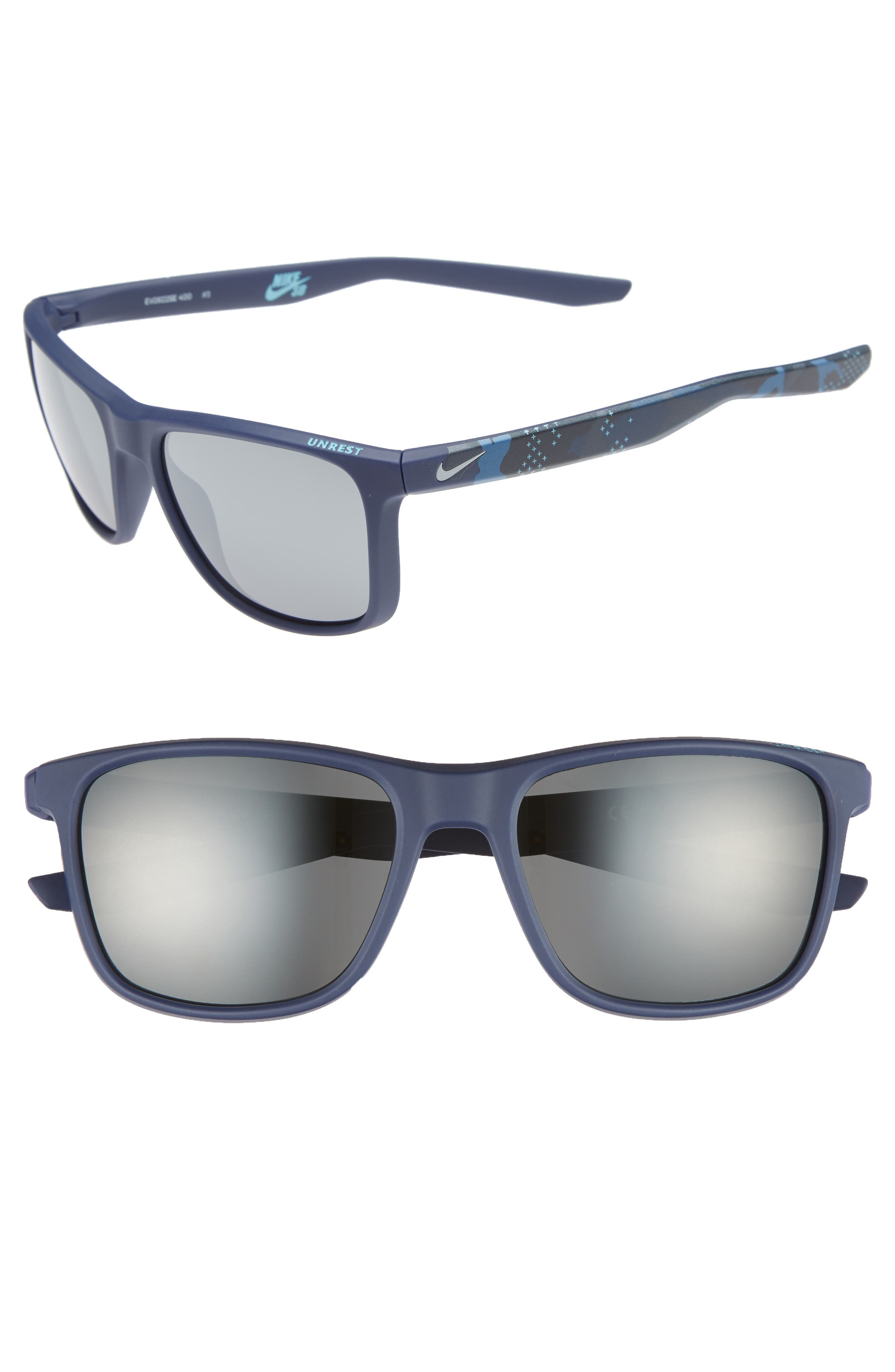Unrest SE 57mm Sunglasses,                             Main thumbnail 1, color,                             Midnight Teal/ Dark Grey
