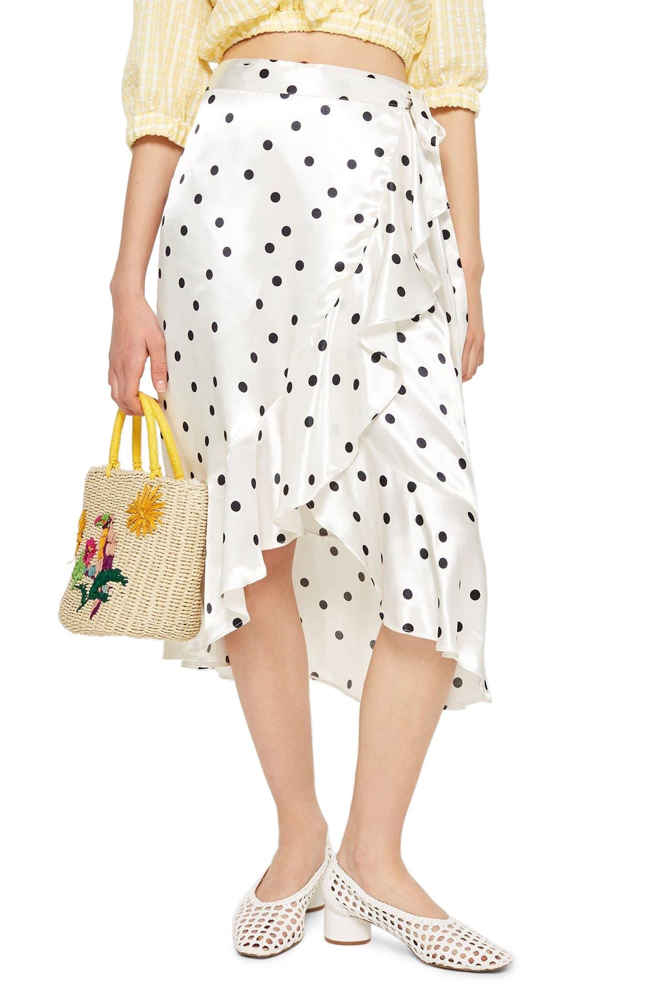 Satin Spot Ruffle Skirt,                             Main thumbnail 1, color,                             White Multi