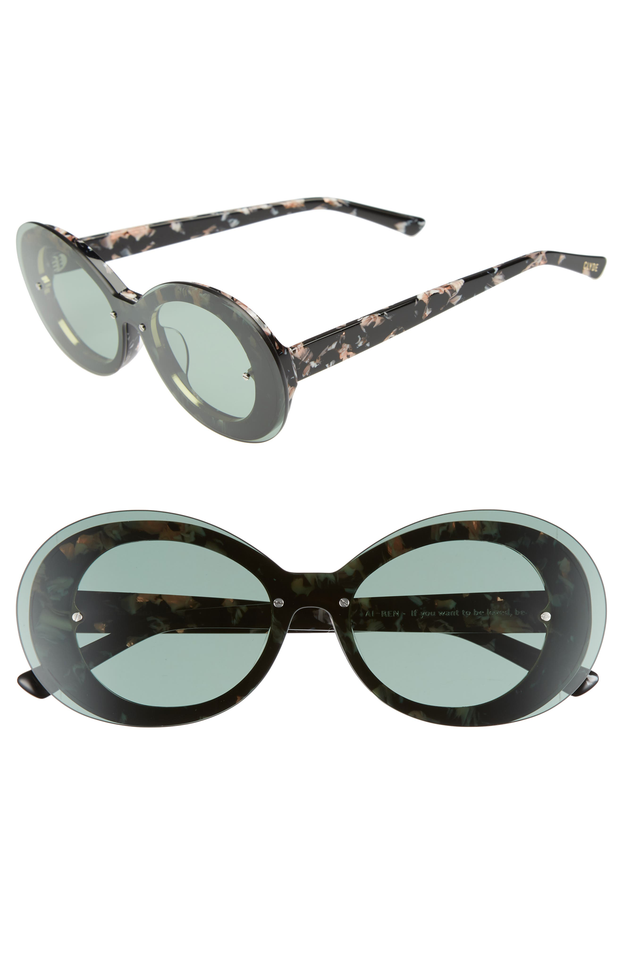 Ai-Ren 51mm Round Sunglasses,                         Main,                         color, Marbled Olive