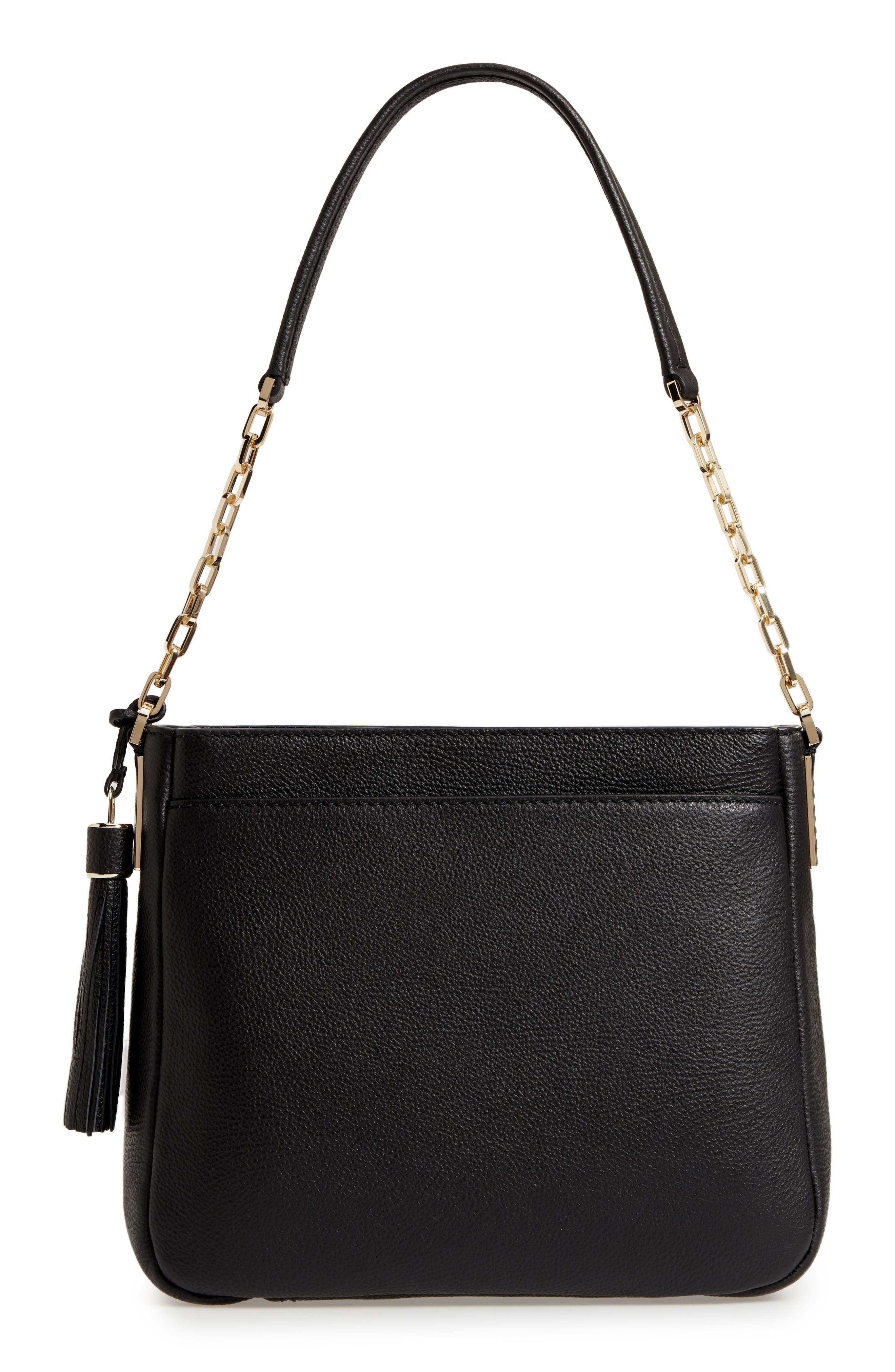 kingston drive - shannon leather tote,                             Alternate thumbnail 3, color,                             Black
