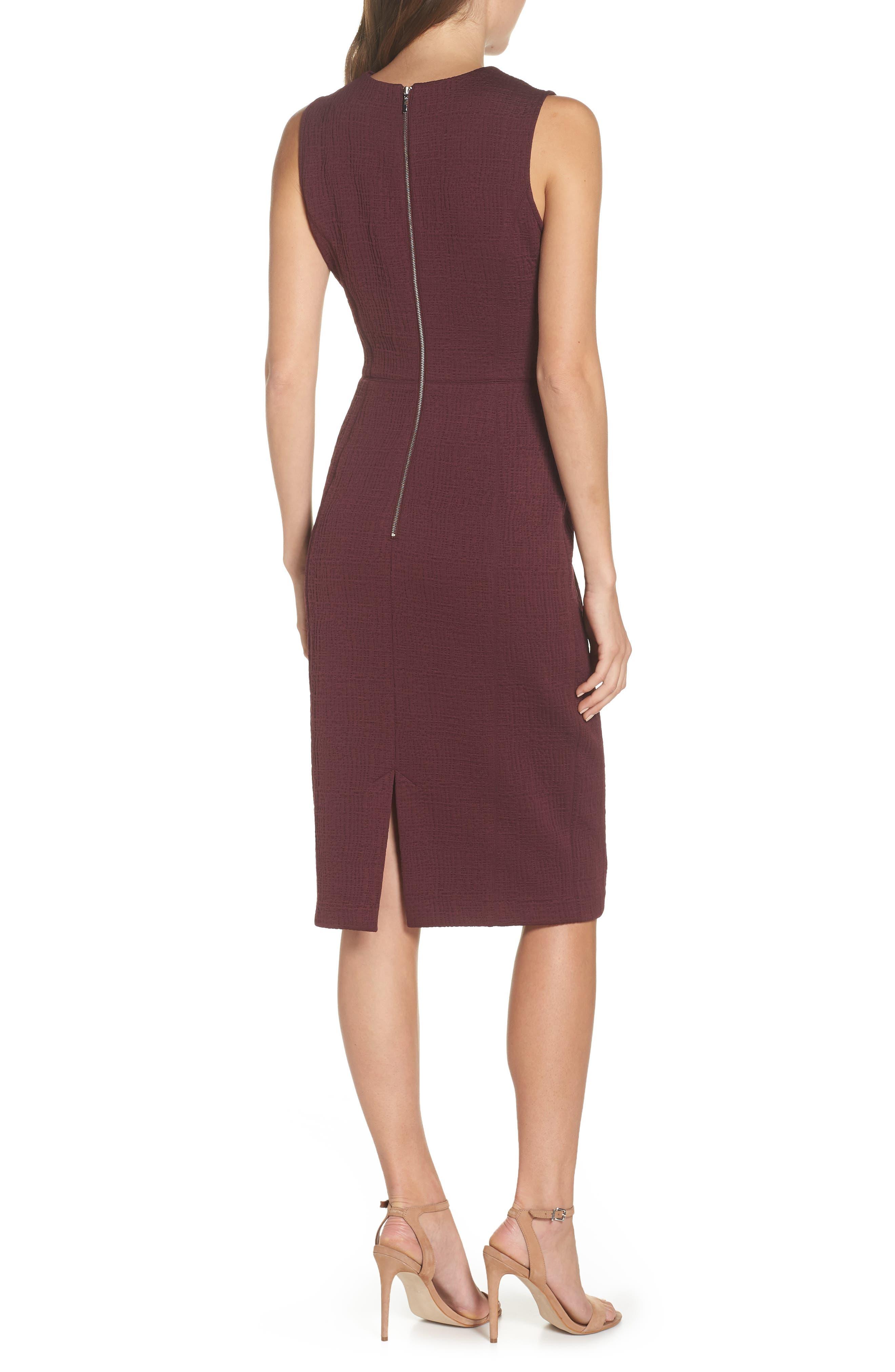 Jacquard Sheath Dress,                             Alternate thumbnail 2, color,                             Fig