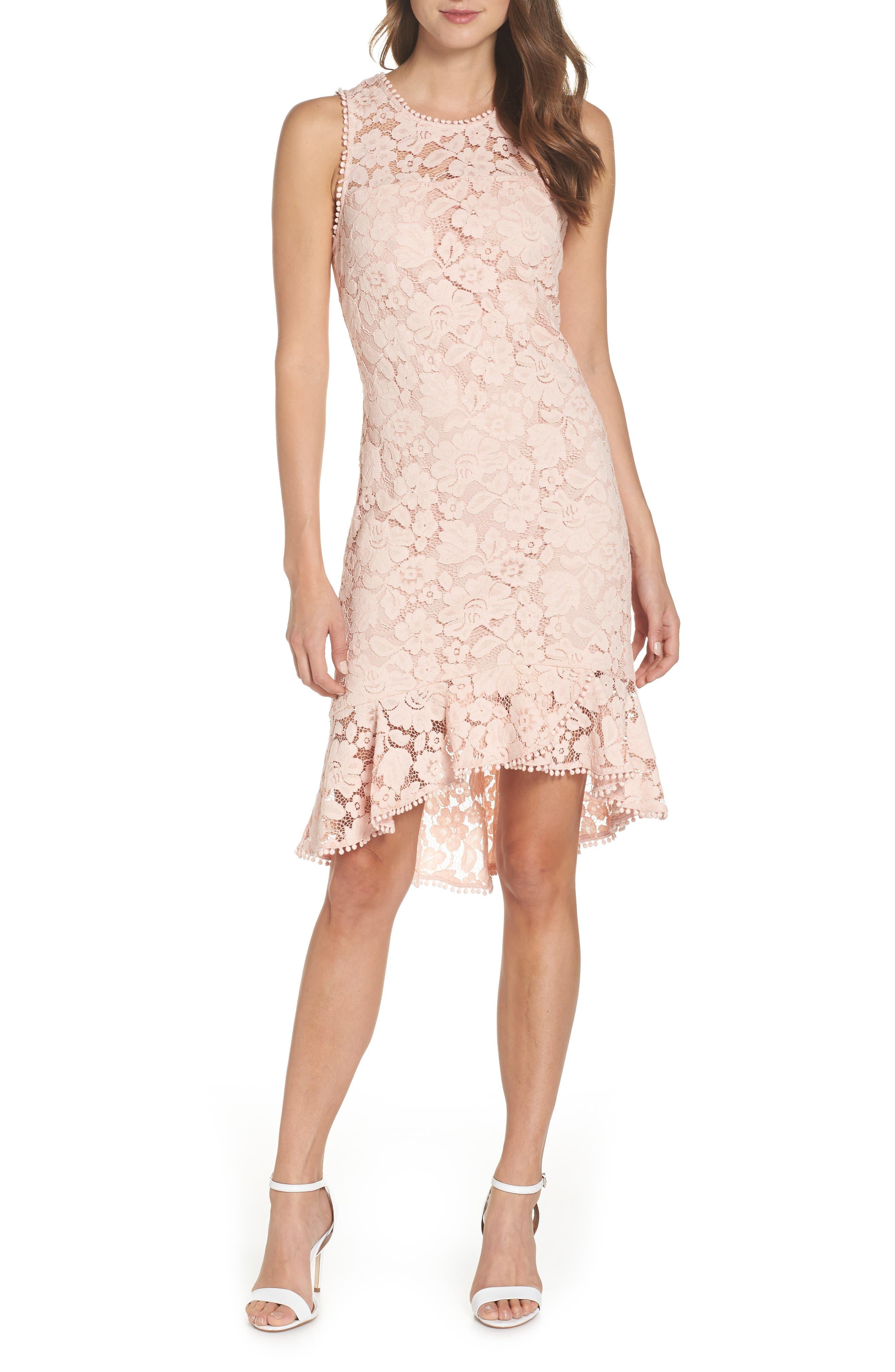 Sleeveless Lace Sheath Dress,                             Main thumbnail 1, color,                             Blush