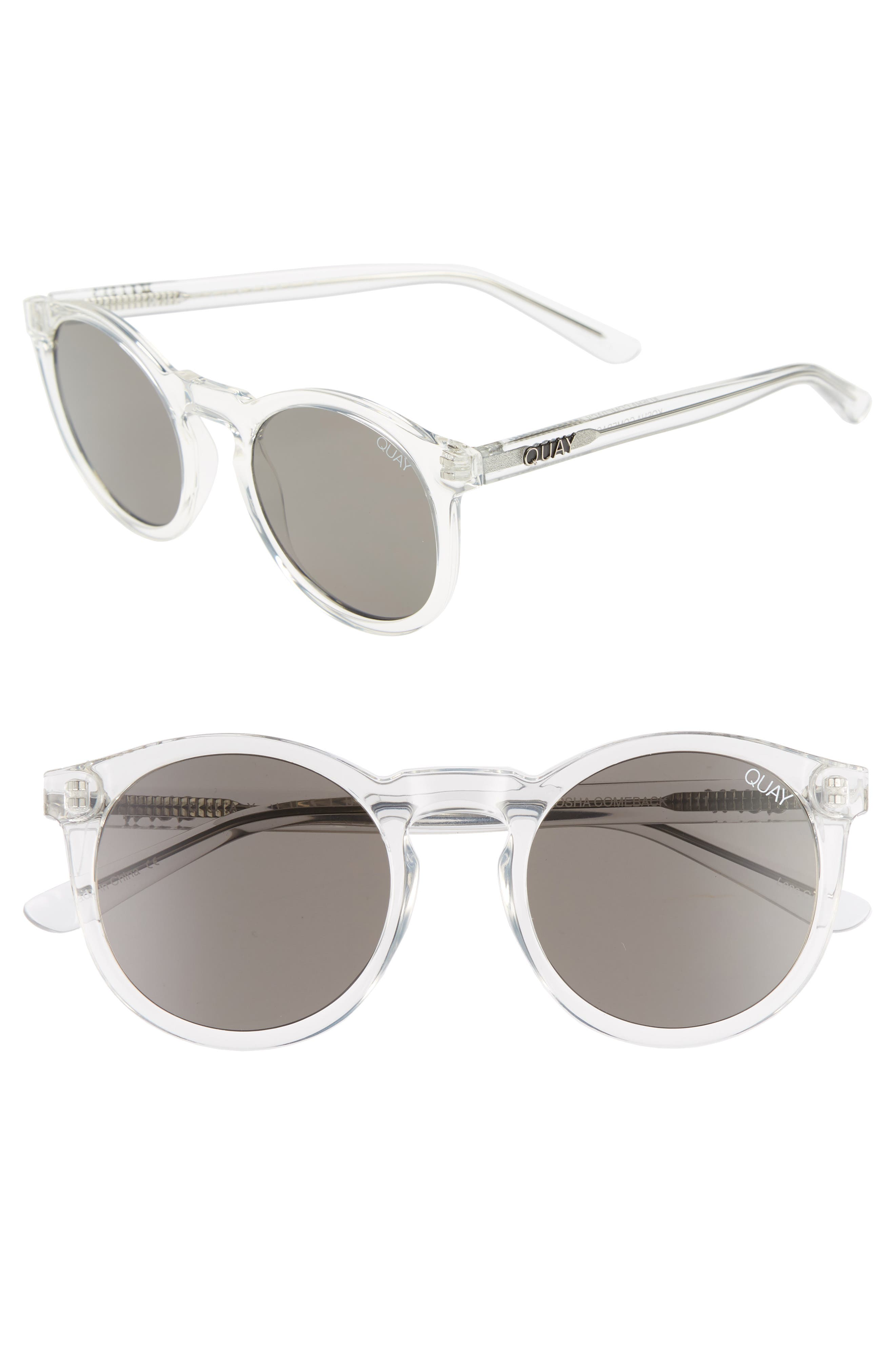 Kosha 49mm Round Sunglasses,                             Main thumbnail 1, color,                             Clear/ Smoke