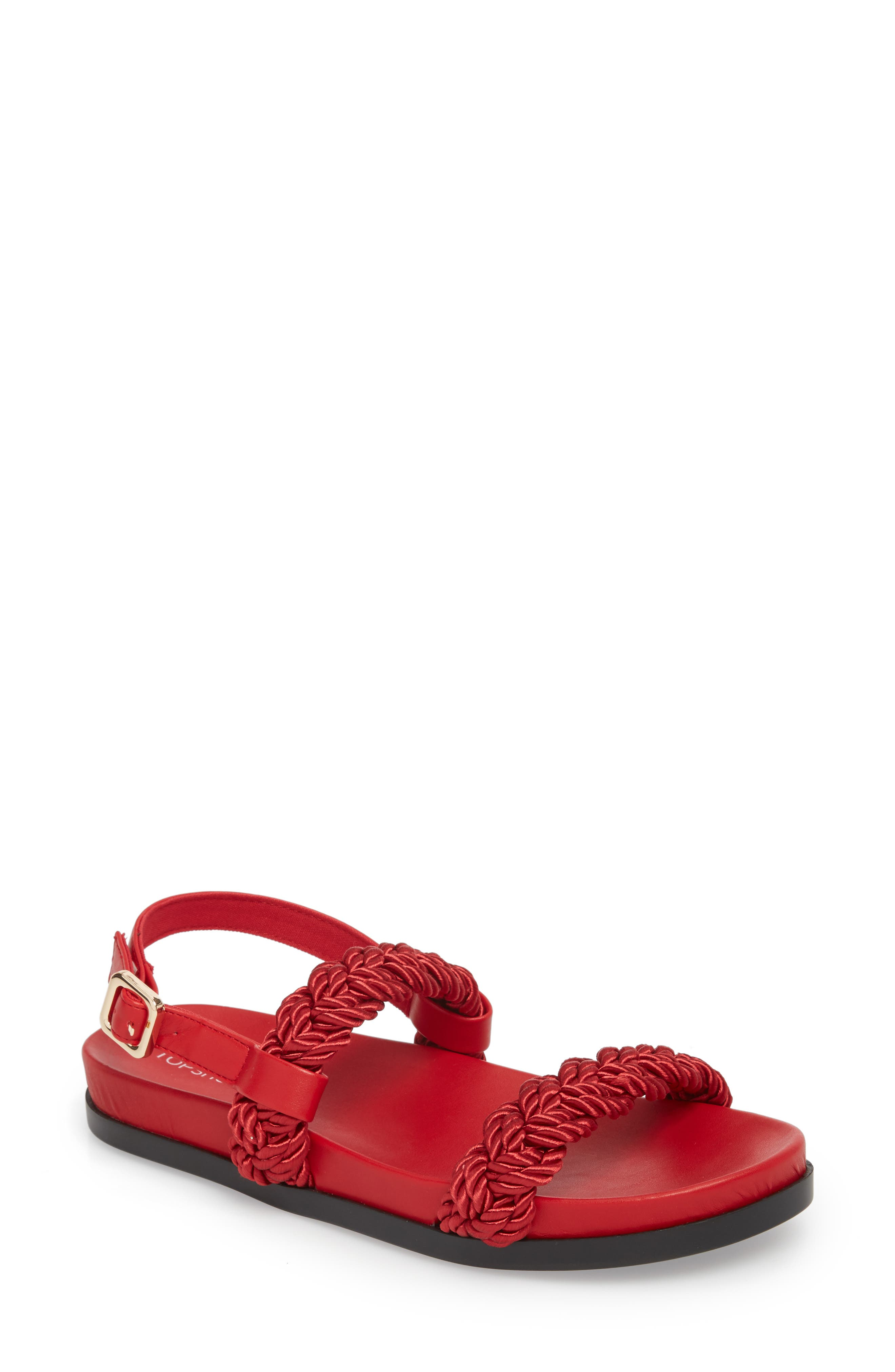 Hackney Rope Footbed Sandals,                             Main thumbnail 1, color,                             Red
