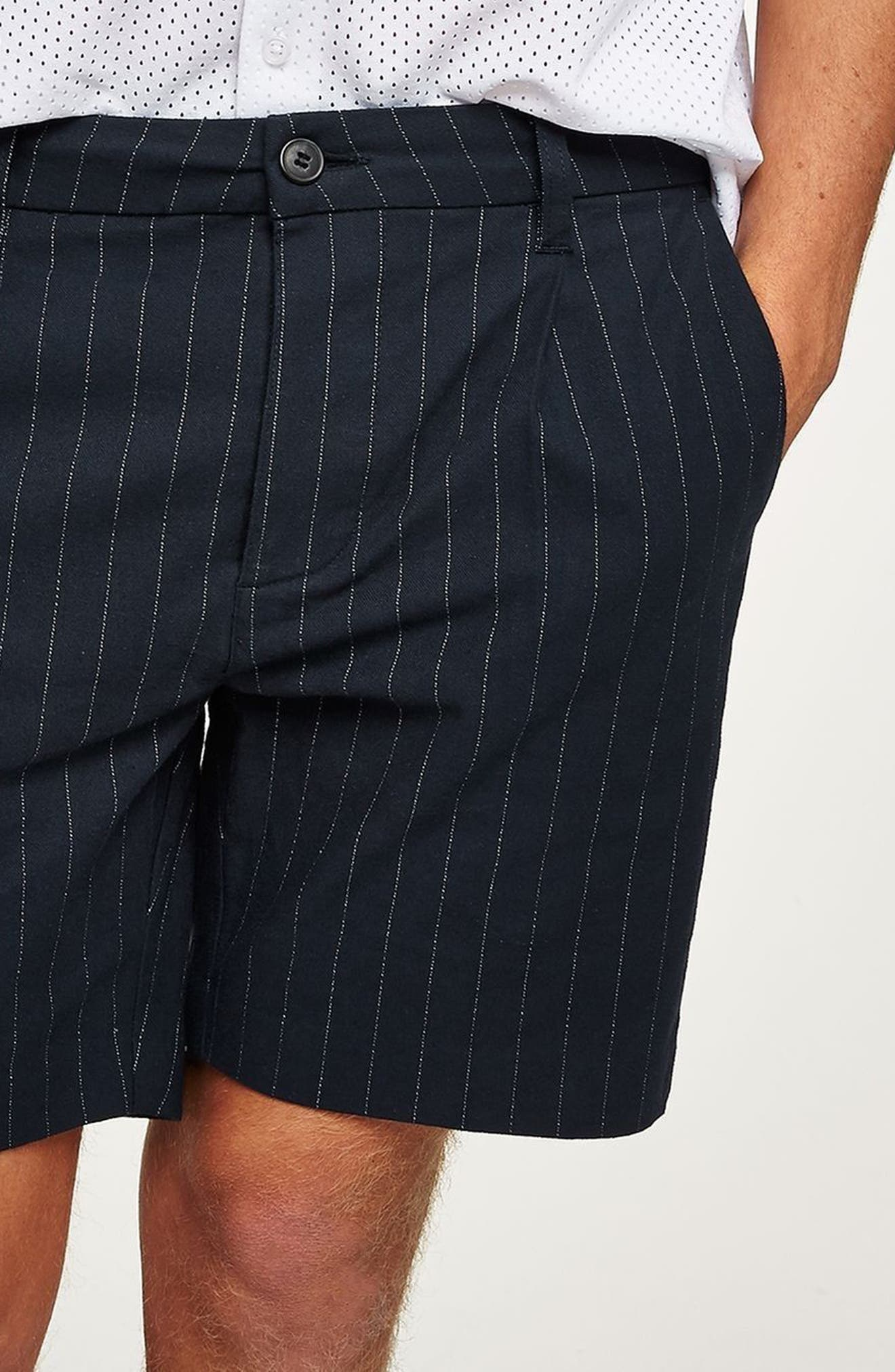Pinstripe Shorts,                             Alternate thumbnail 2, color,                             Navy Blue