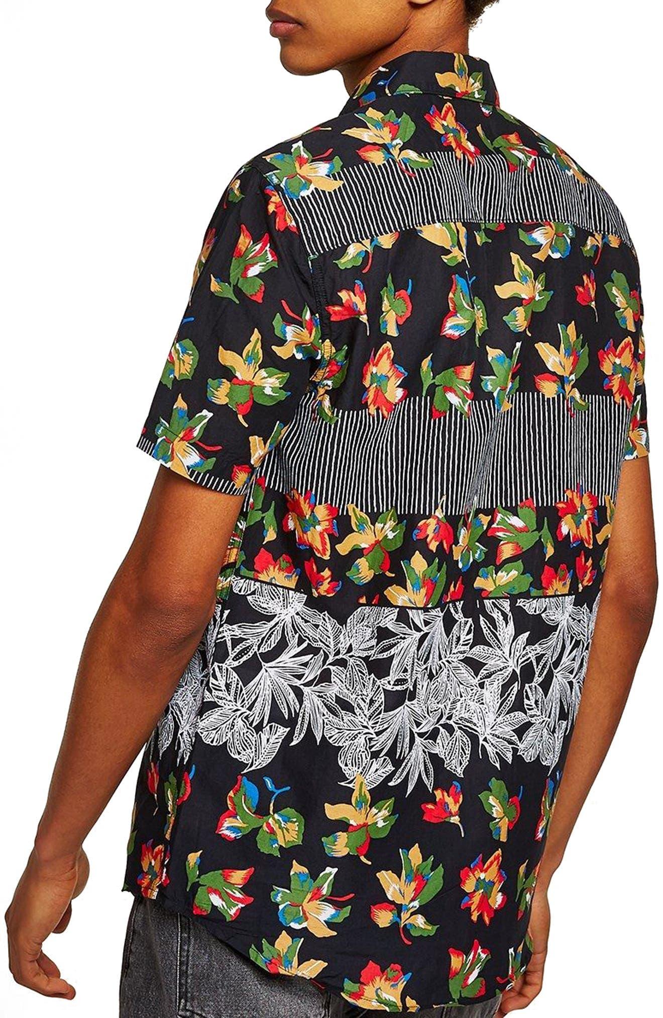 Multi Print Shirt,                             Alternate thumbnail 3, color,                             Black Multi