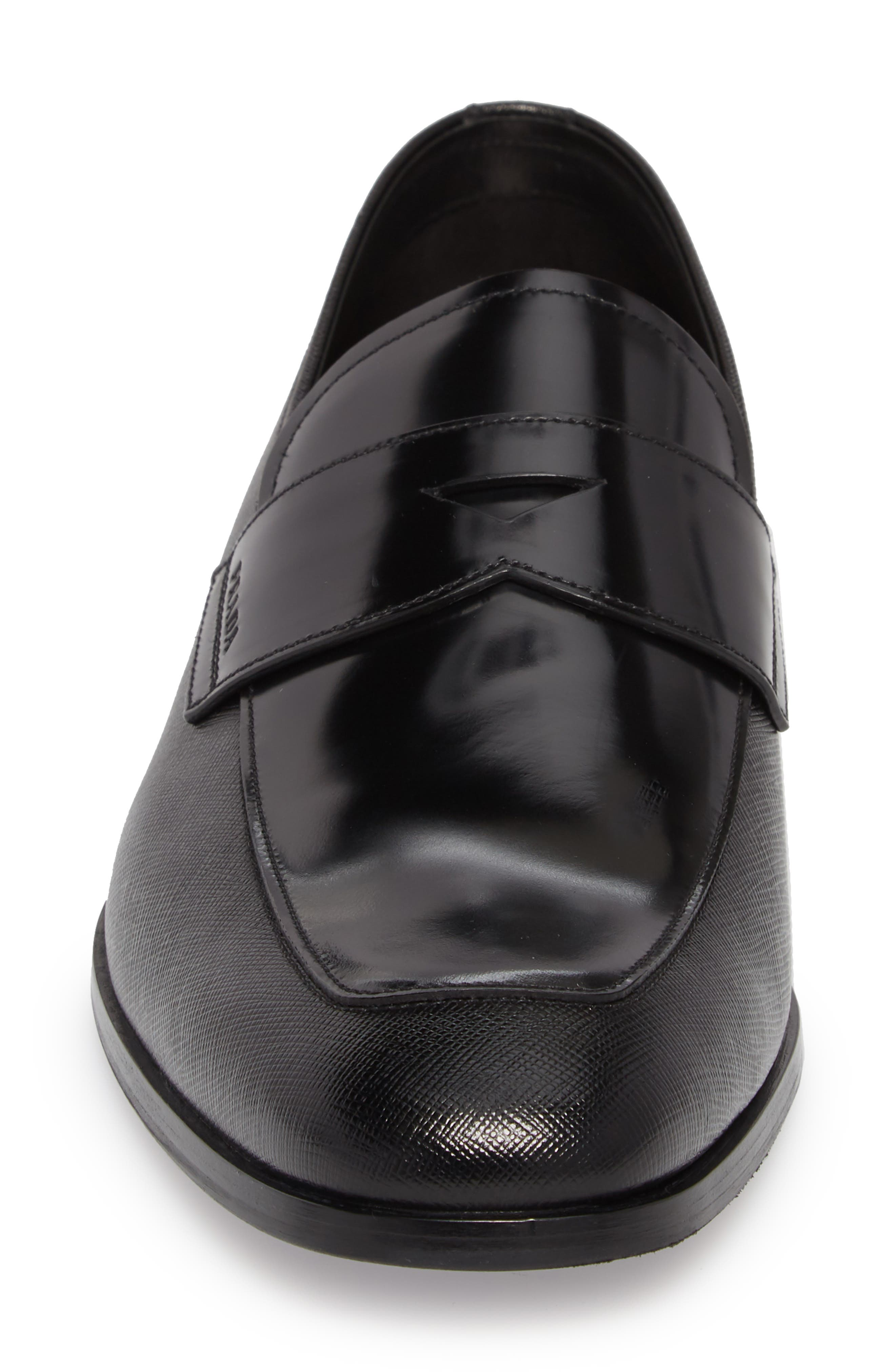 Saffiano Leather Penny Loafer,                             Alternate thumbnail 4, color,                             Nero