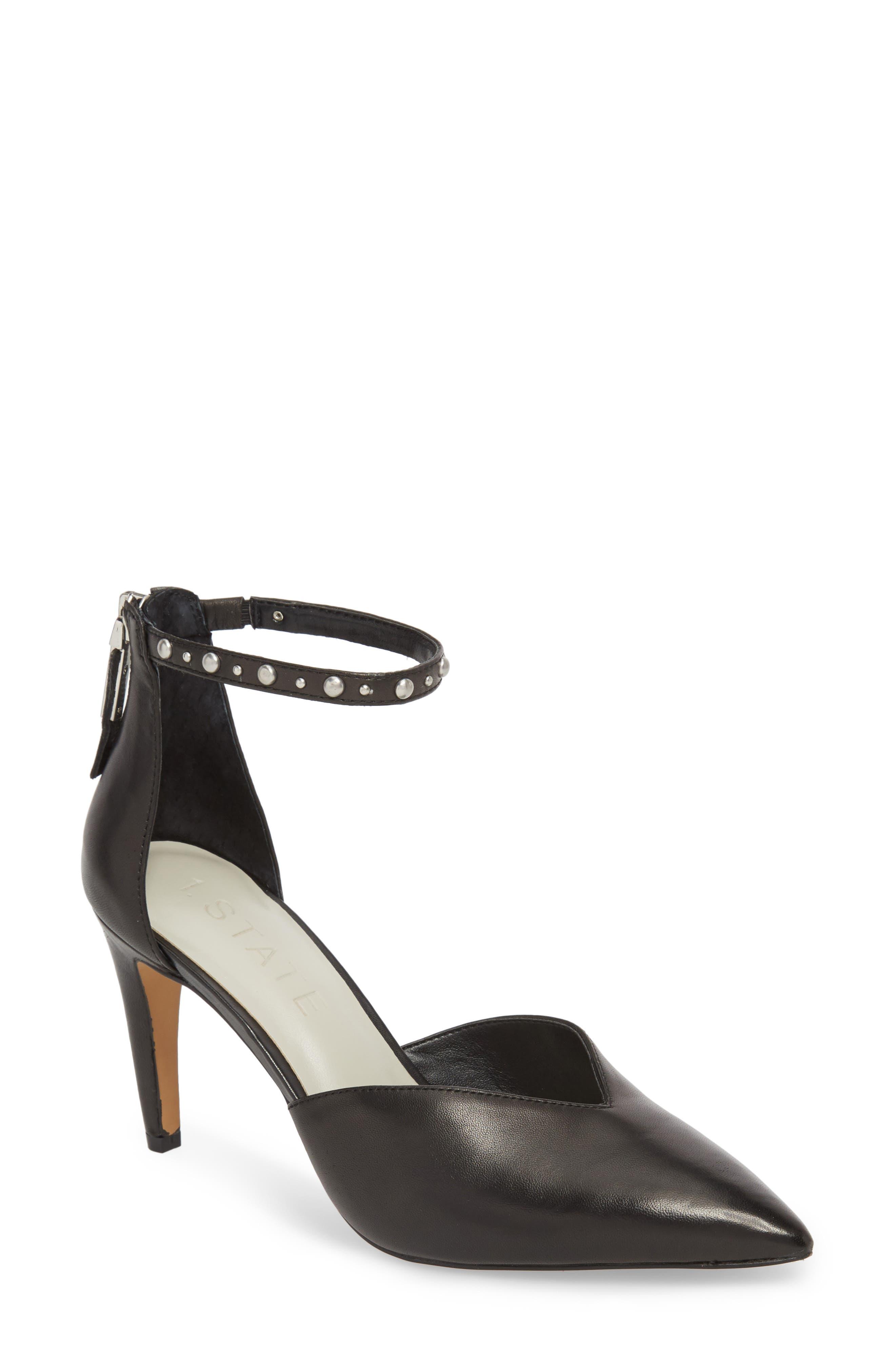Haylee Pump,                         Main,                         color, Black Leather