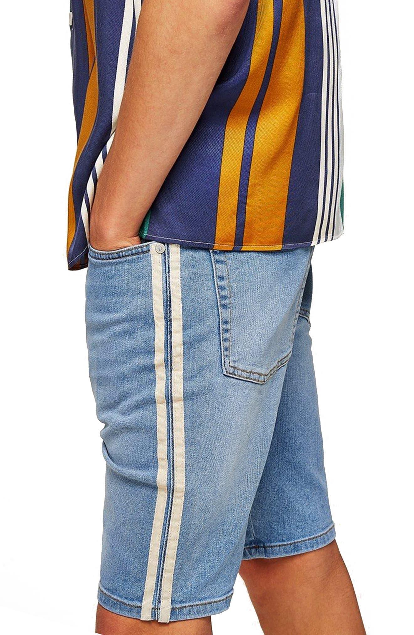 Tape Stretch Skinny Fit Denim Shorts,                             Alternate thumbnail 2, color,                             Blue