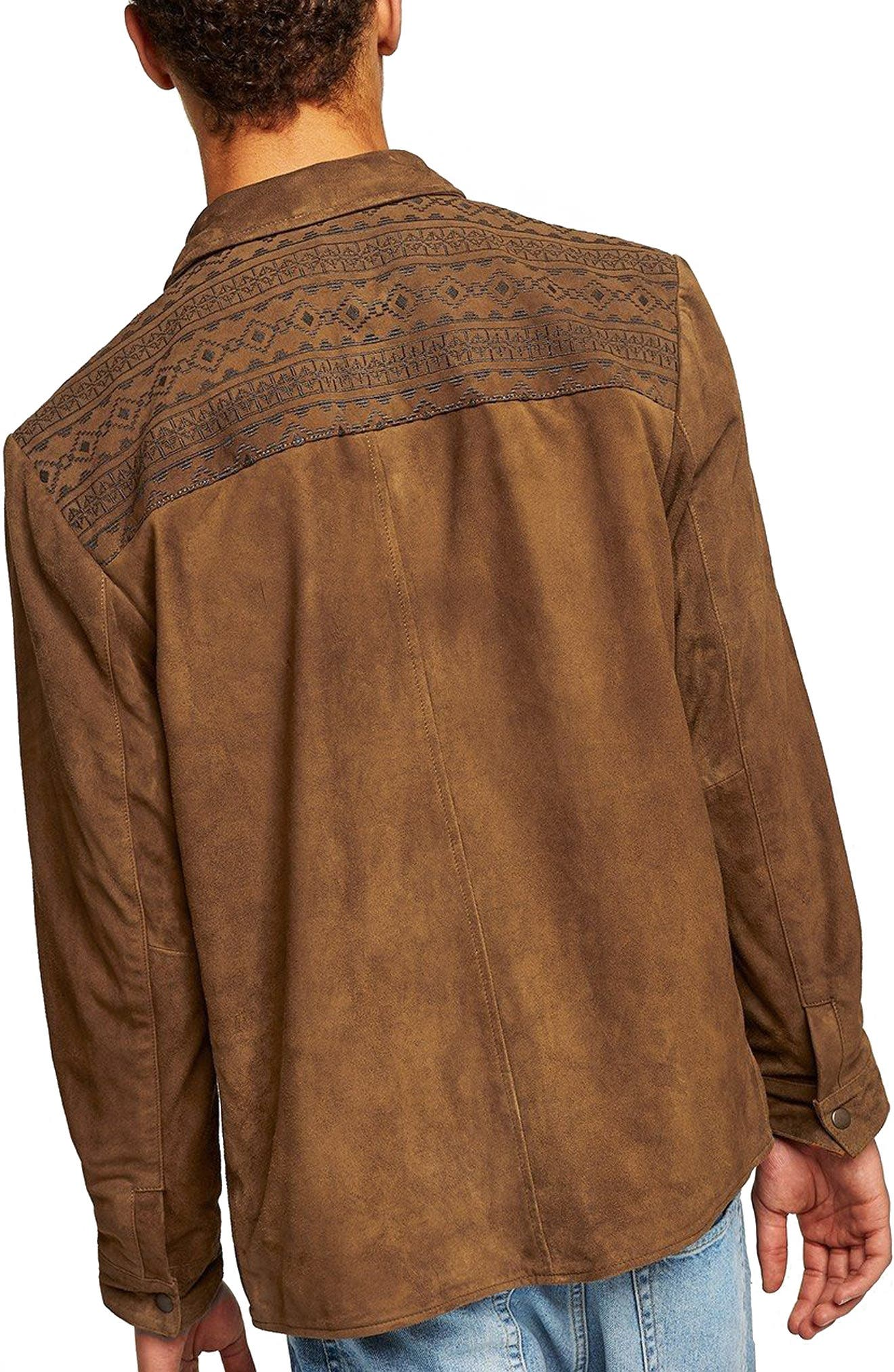 Embroidered Suede Jacket,                             Alternate thumbnail 2, color,                             Brown Multi