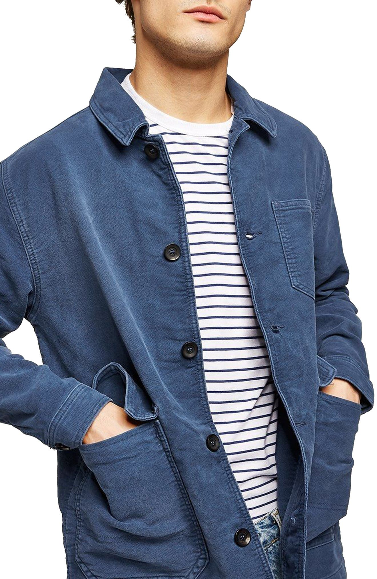 Classic Fit Work Jacket,                         Main,                         color, Blue
