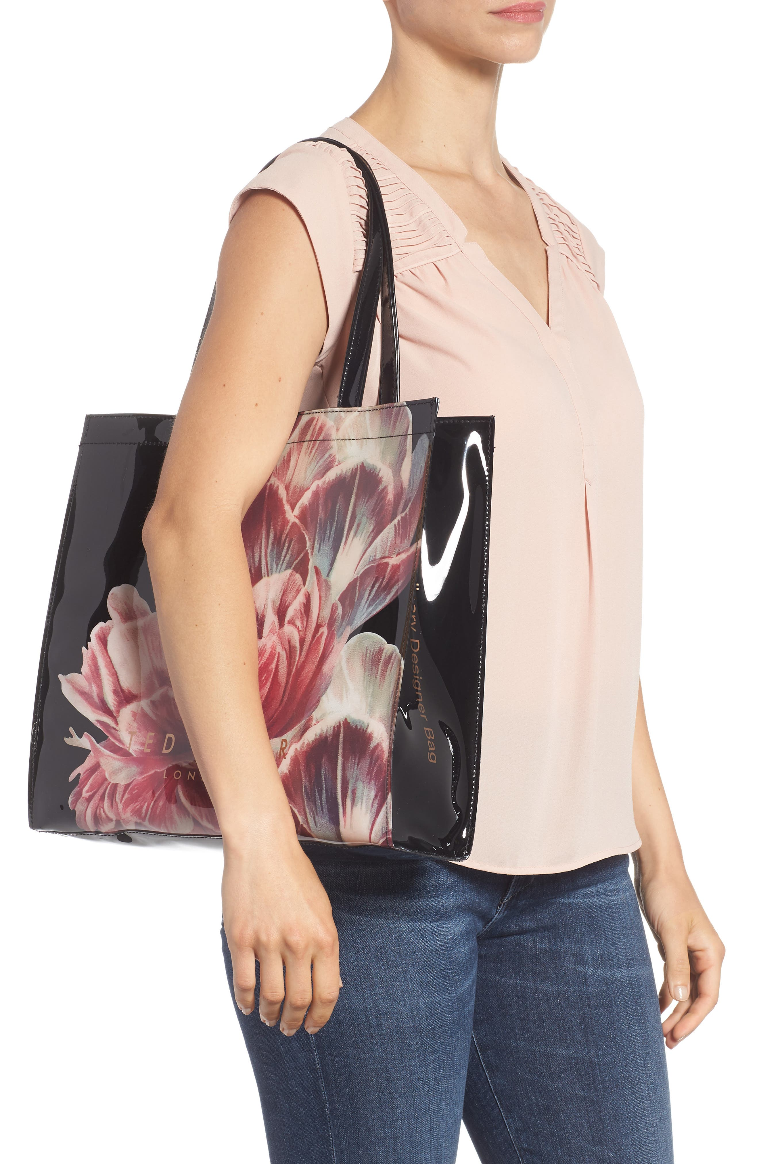 Tranquility Large Icon Tote,                             Alternate thumbnail 2, color,                             Black