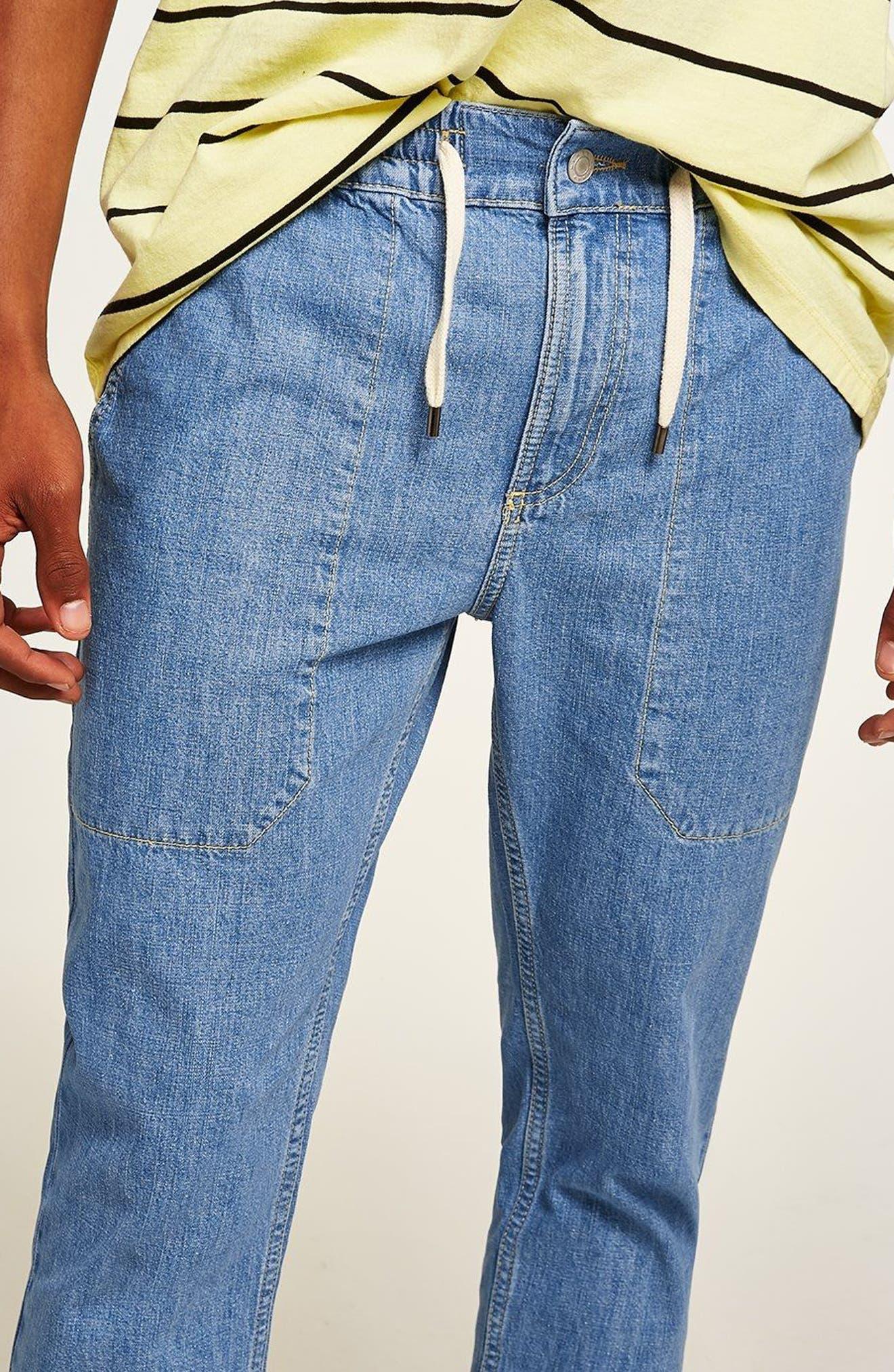 Tapered Fit Denim Jogger Pants,                             Alternate thumbnail 3, color,                             Blue
