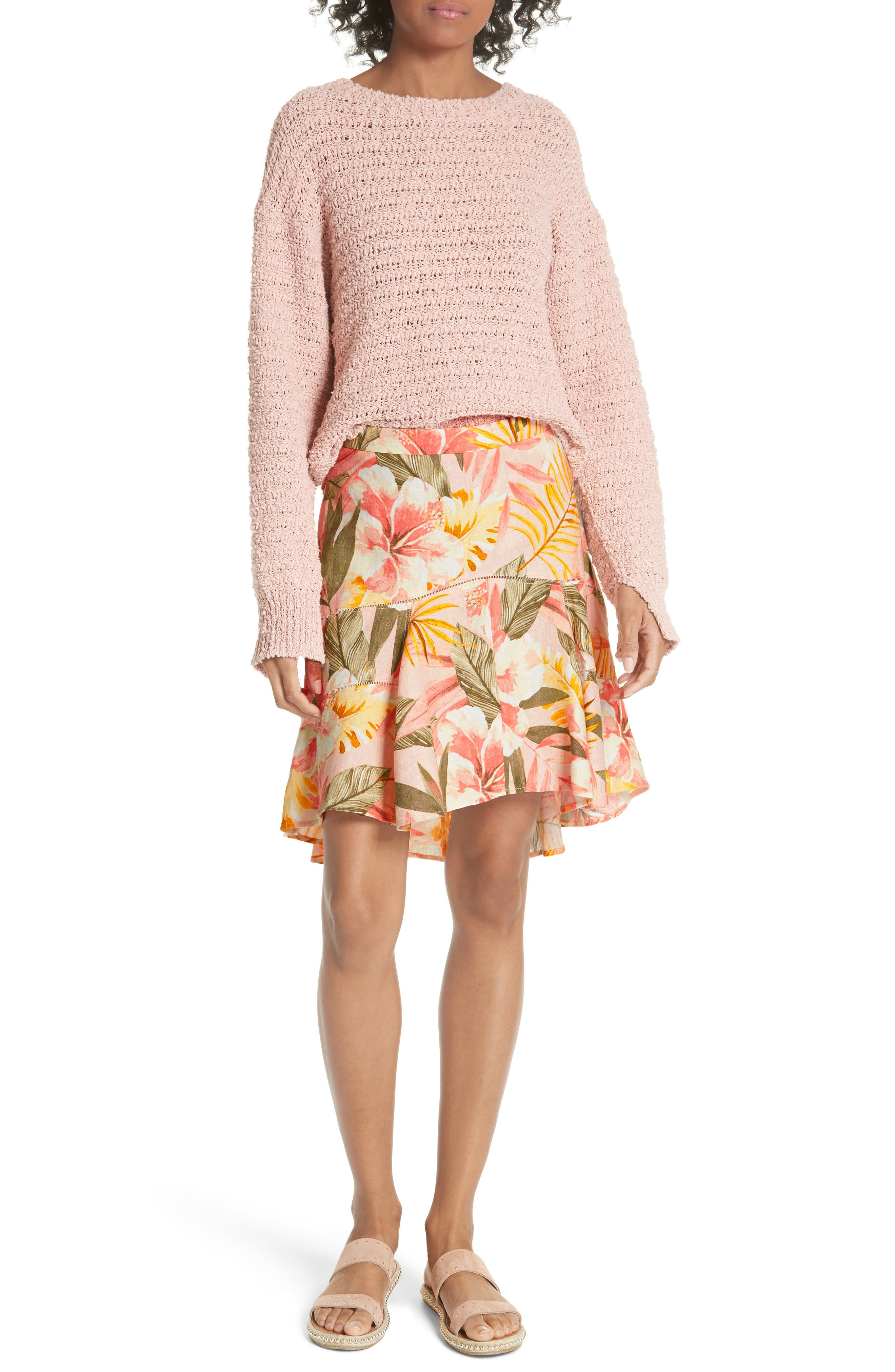 Radhiya Linen Floral Ruffle Skirt,                             Alternate thumbnail 7, color,                             Dusty Nude