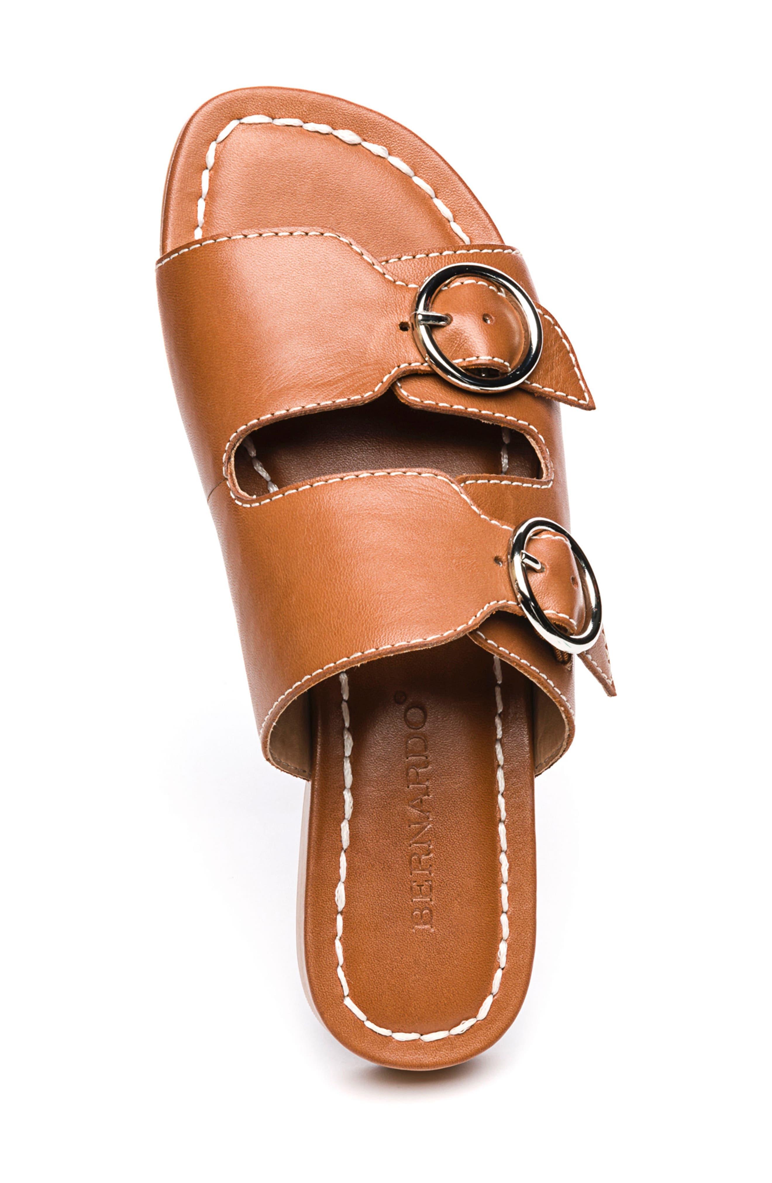 Bernardo Tobi Slide Sandal,                             Alternate thumbnail 5, color,                             Luggage Leather