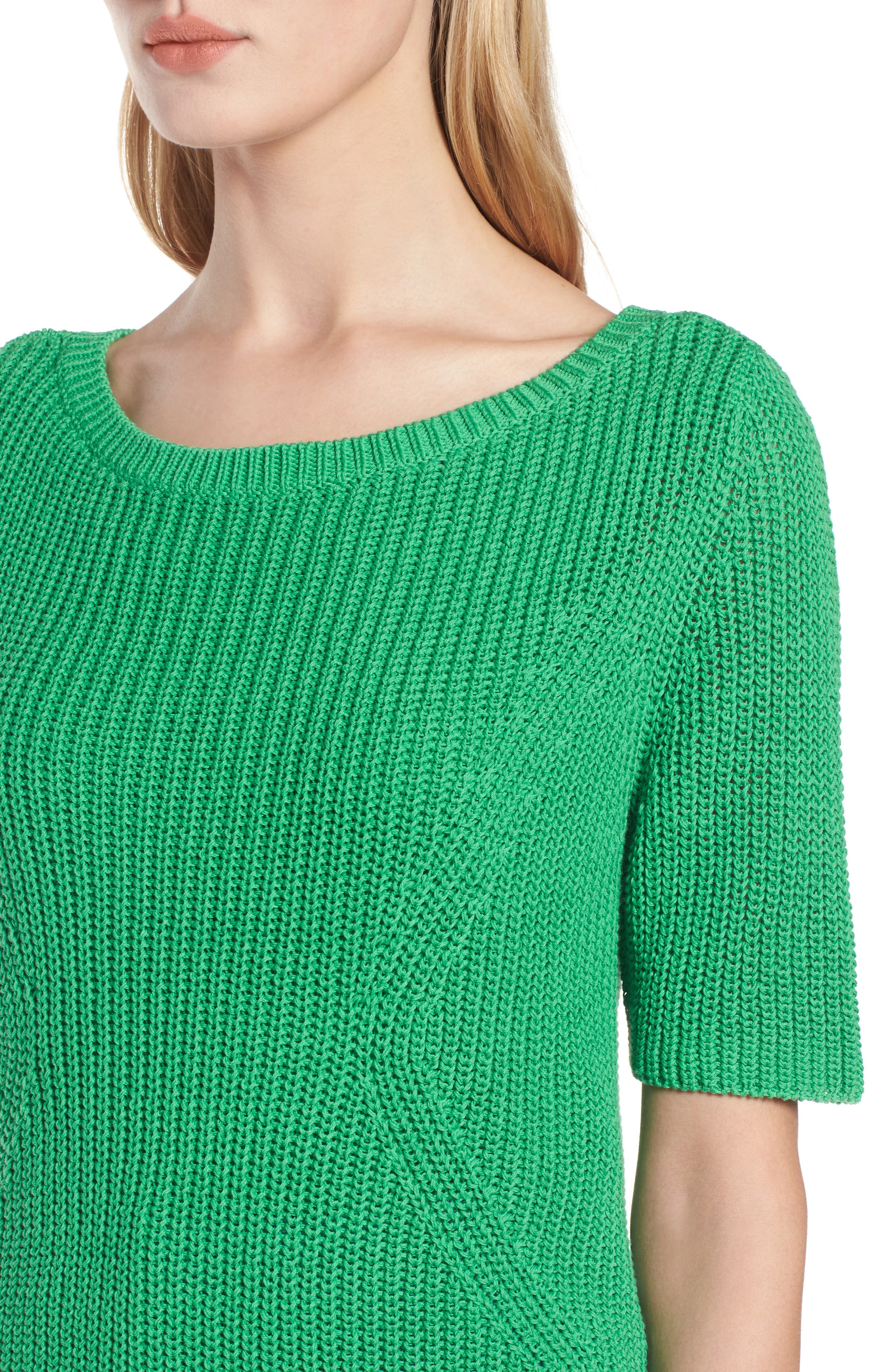 Shaker Stitch Cotton Sweater,                             Alternate thumbnail 4, color,                             Green Kelly