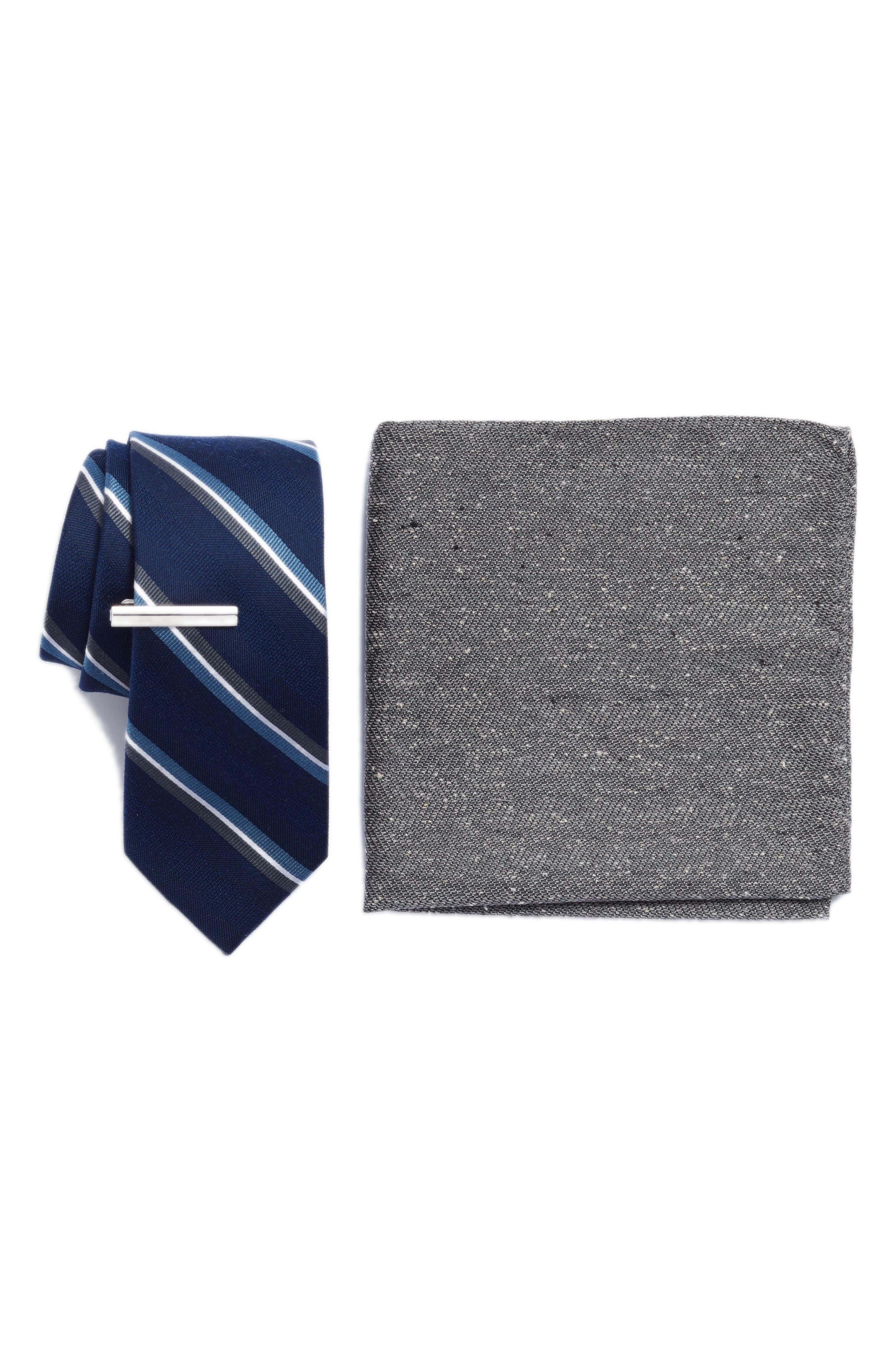 Short Cut Stripe 3-Piece Skinny Tie Style Box,                             Main thumbnail 1, color,                             Navy