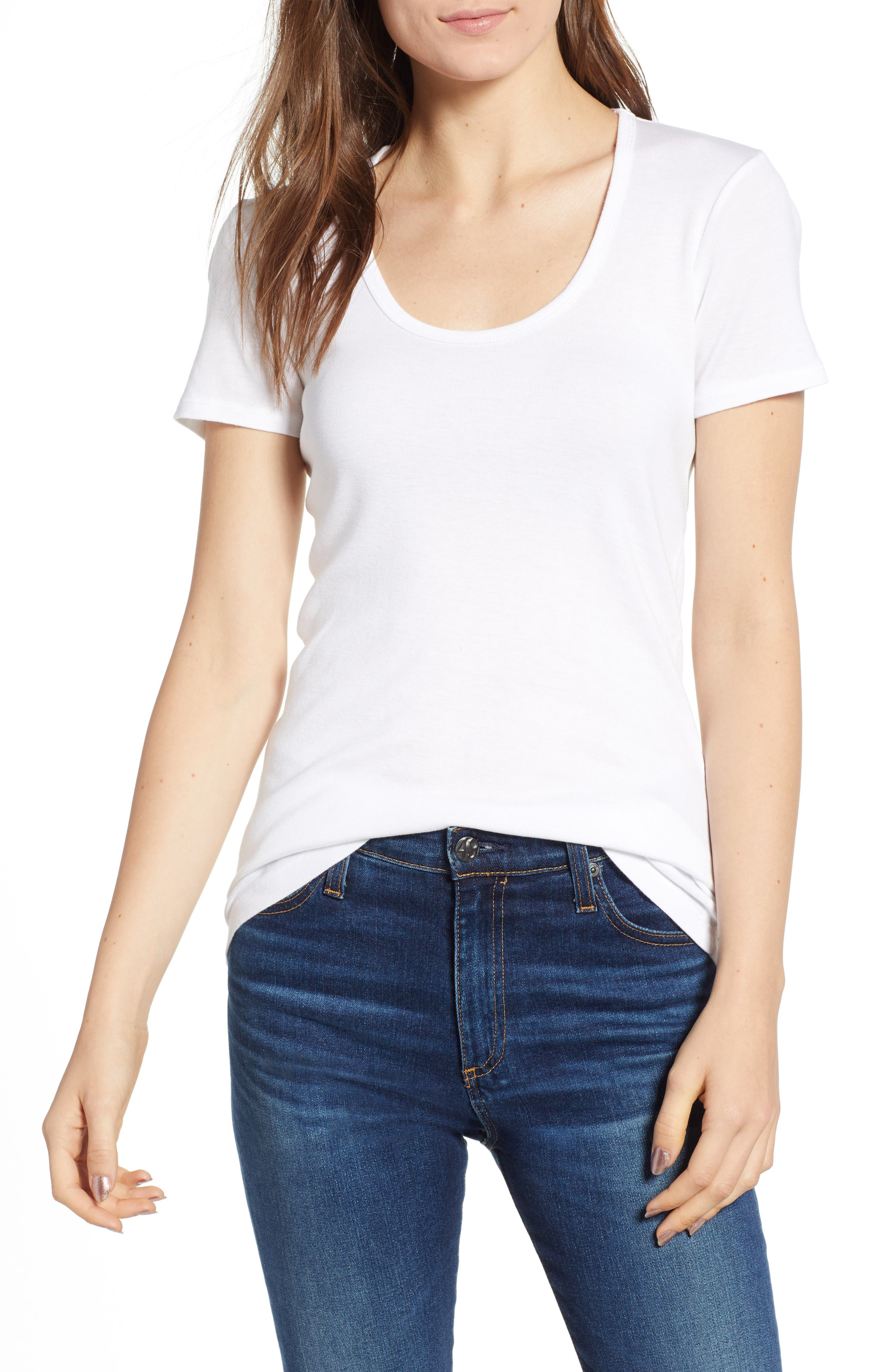 Lightweight Scoop Jersey Tee,                         Main,                         color, White