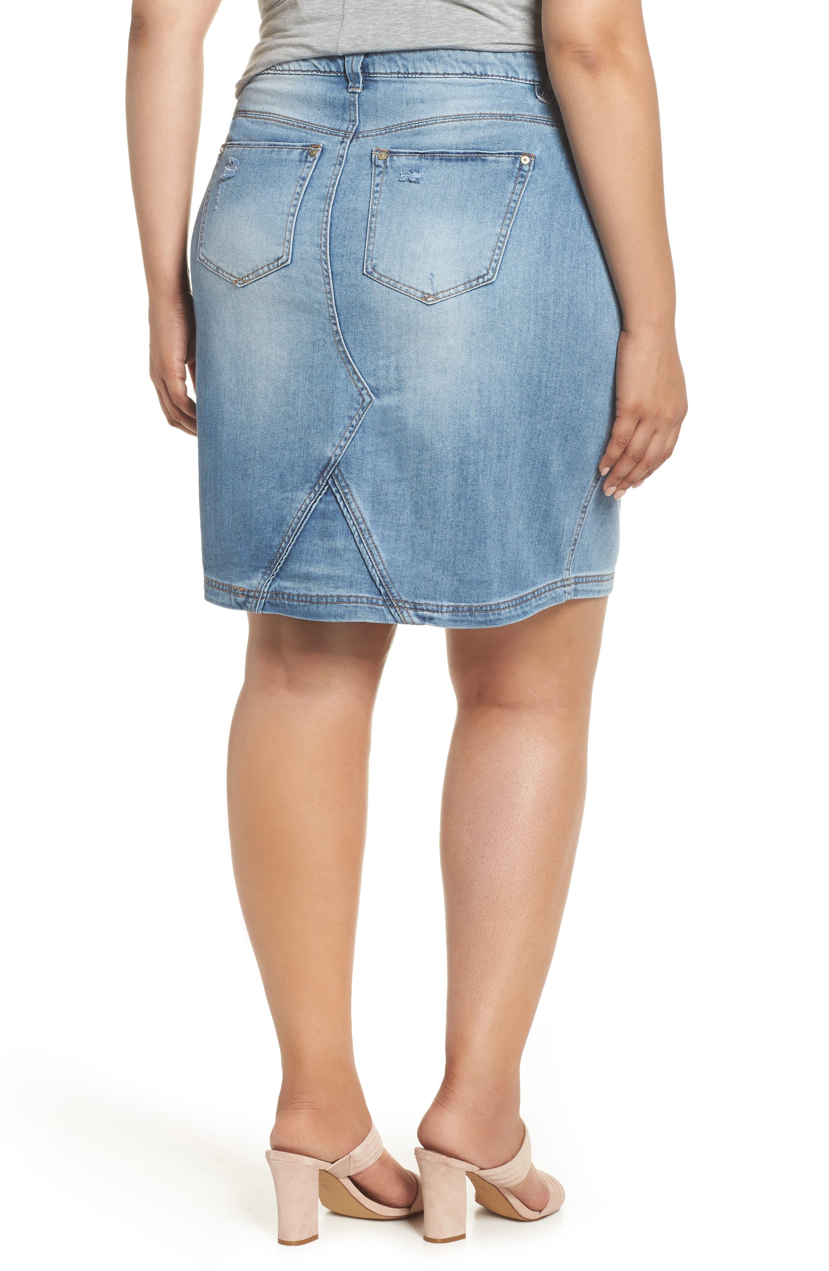 Denim A-Line Skirt,                             Alternate thumbnail 2, color,                             Light Blue