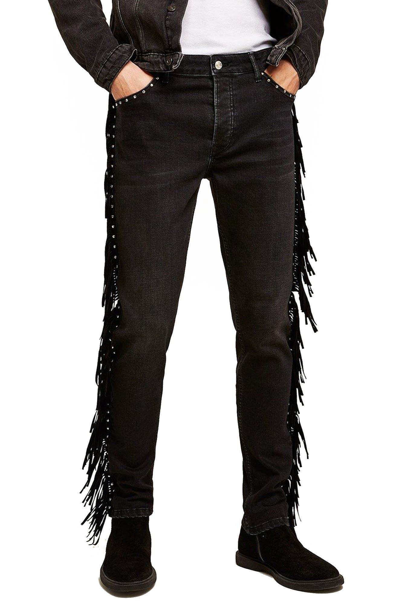 Studded Fringe Skinny Fit Jeans,                             Main thumbnail 1, color,                             Black