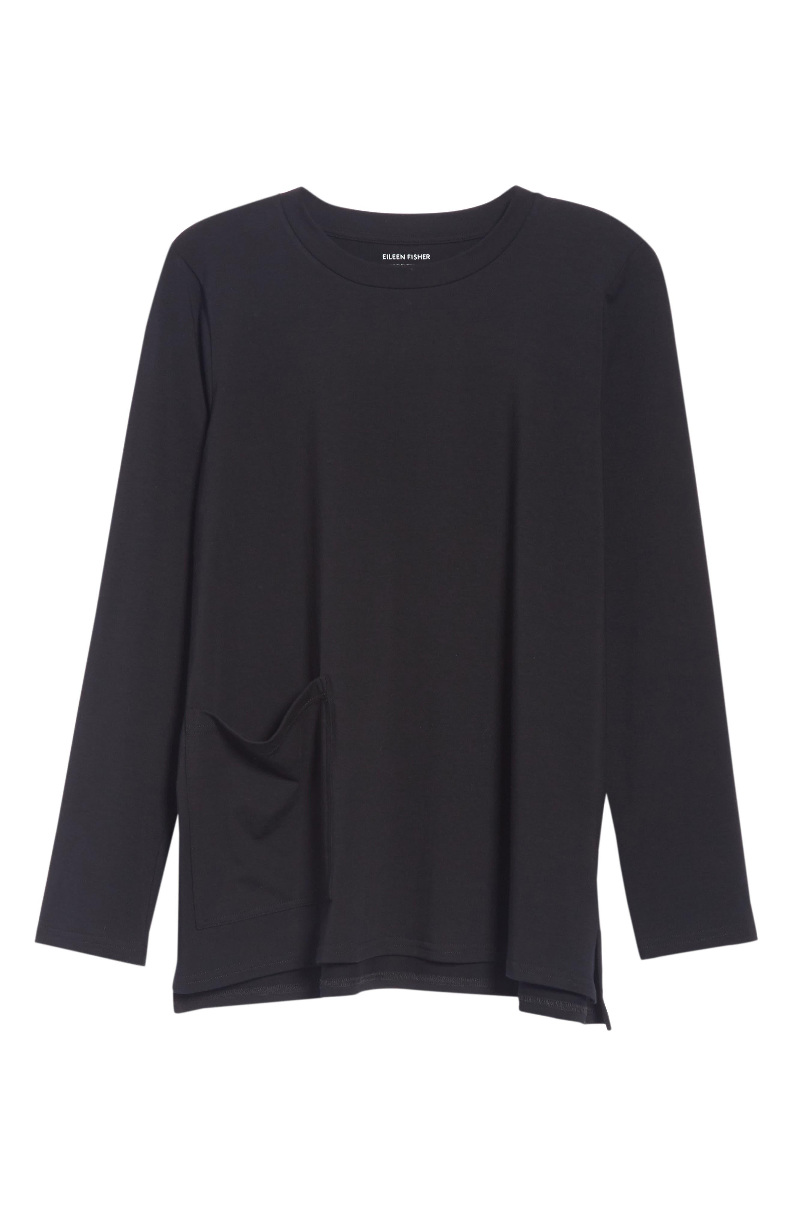 Knit Pocket Top,                             Alternate thumbnail 5, color,                             Black