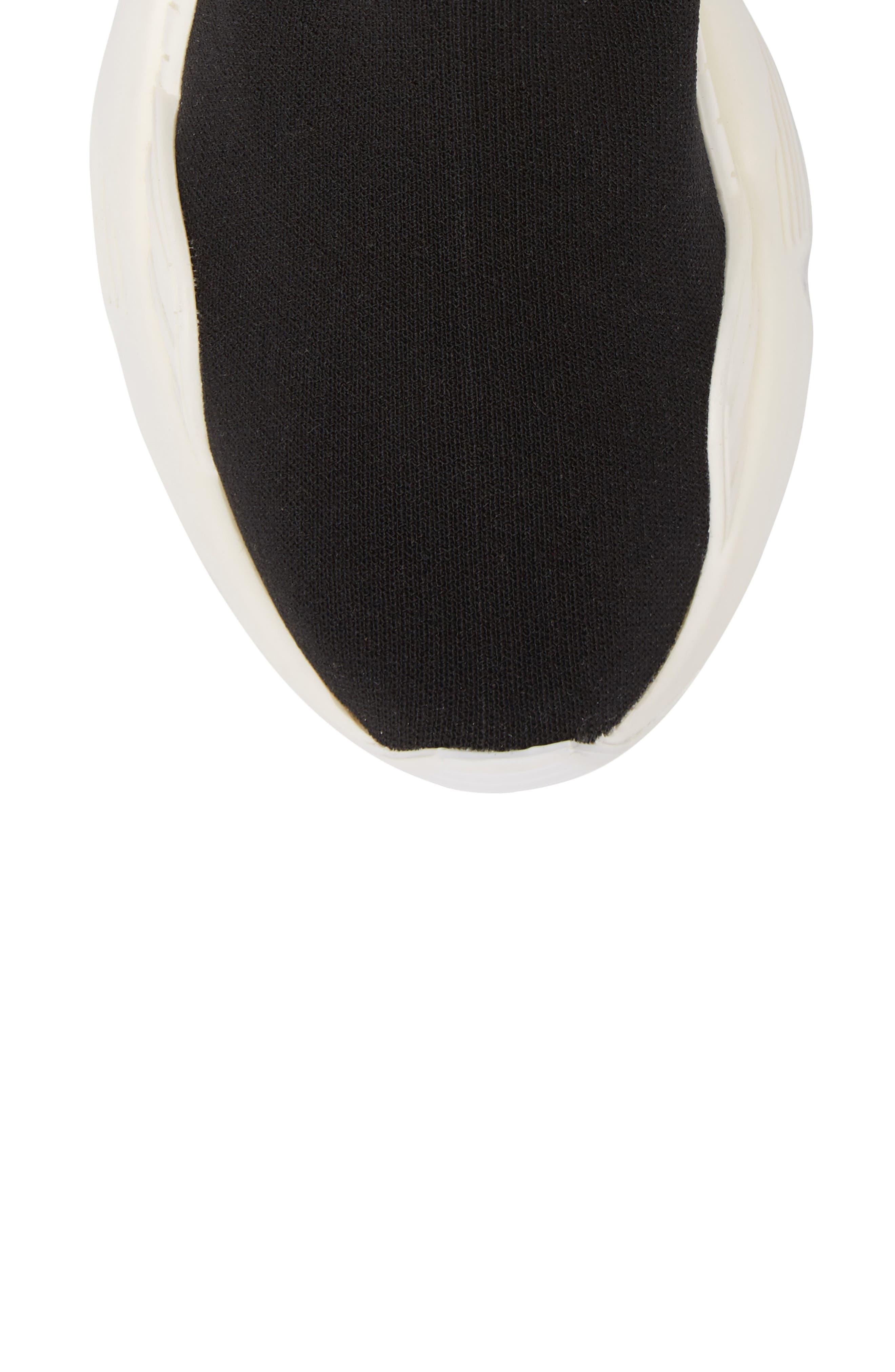 Lunix Sock Sneaker,                             Alternate thumbnail 5, color,                             Black/ White Leather