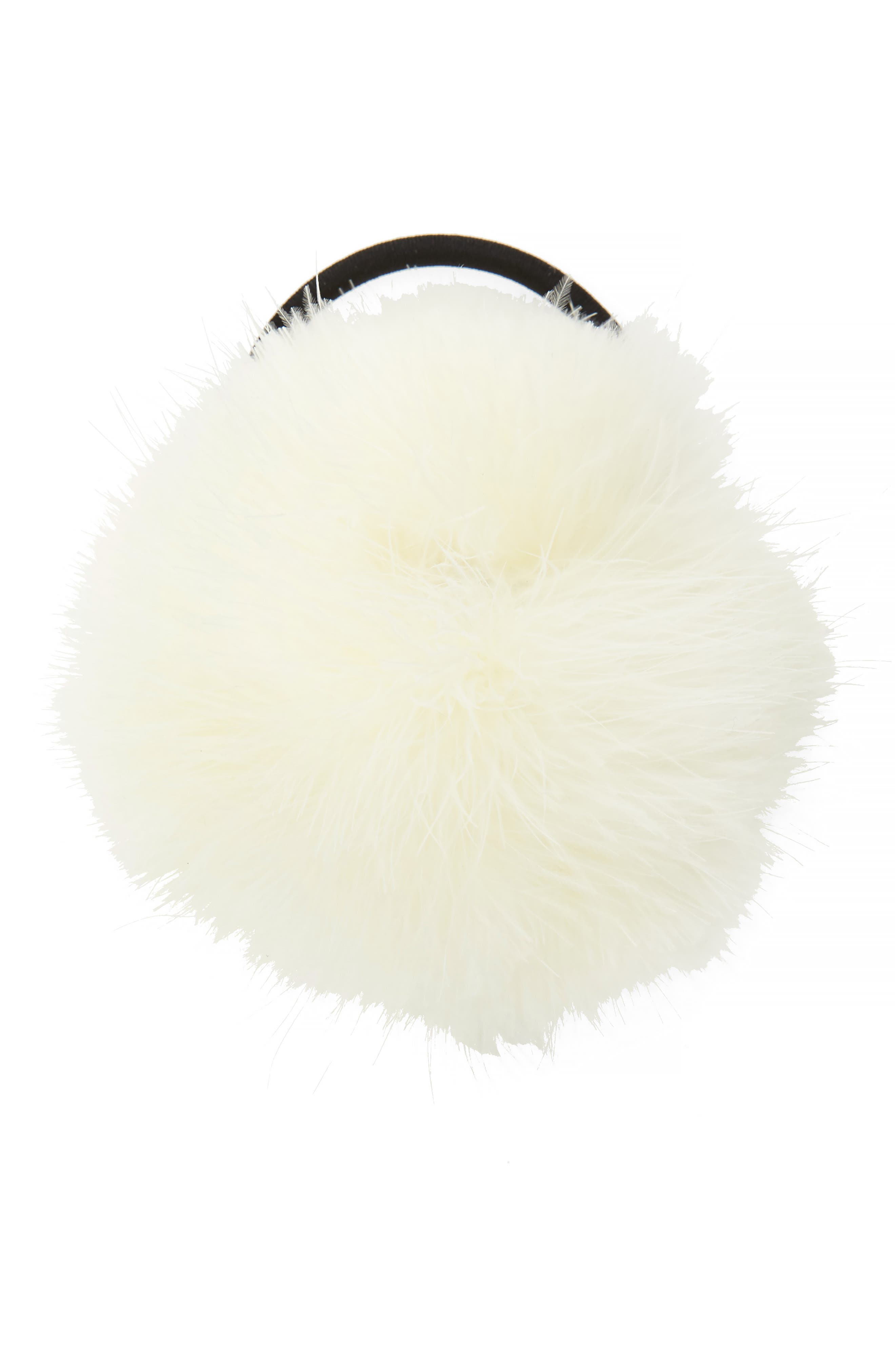 Feather Pouf Ponytail Holder,                         Main,                         color, White