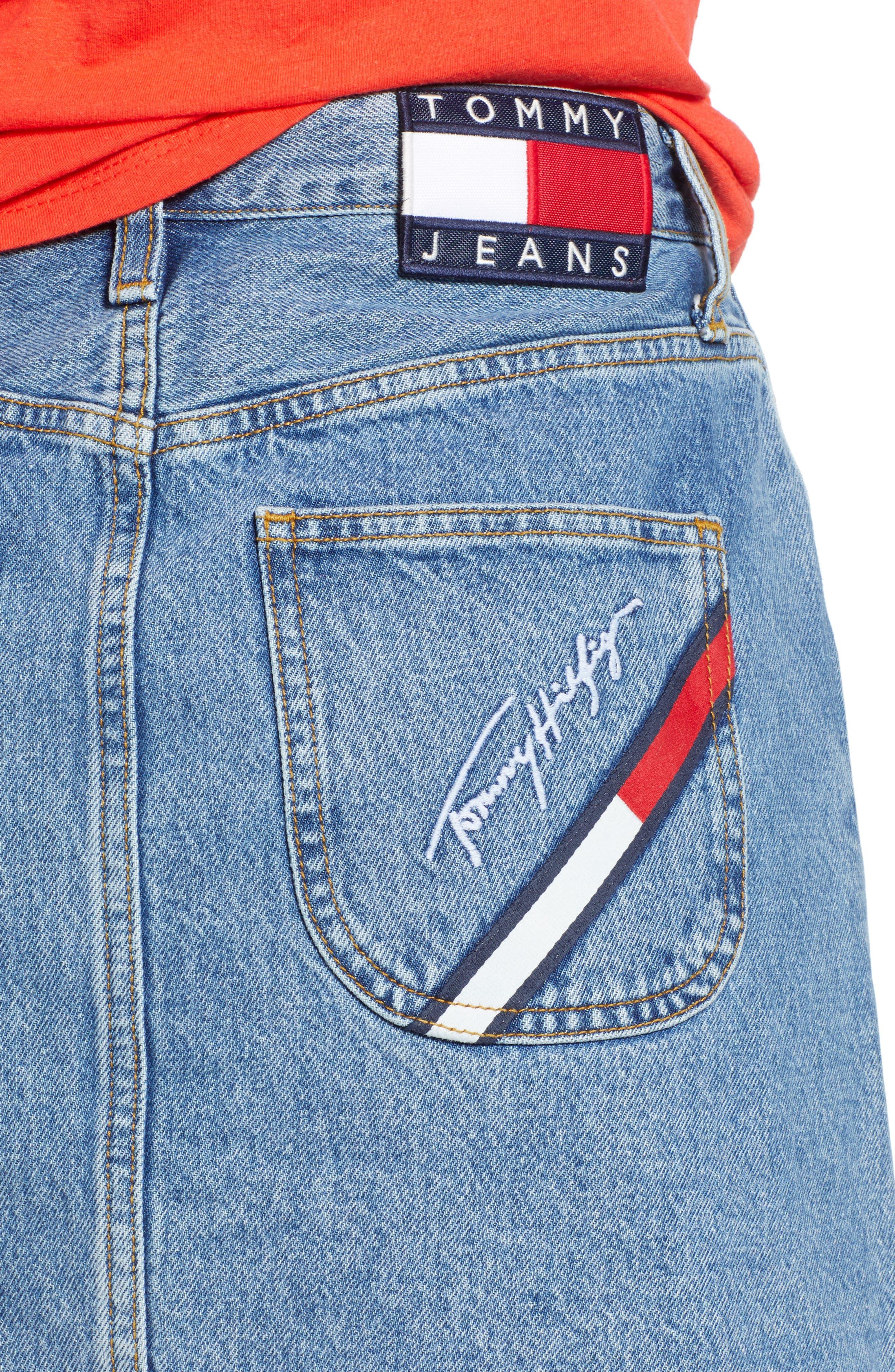 90s Denim Skirt,                             Alternate thumbnail 4, color,                             Mid Blue Denim