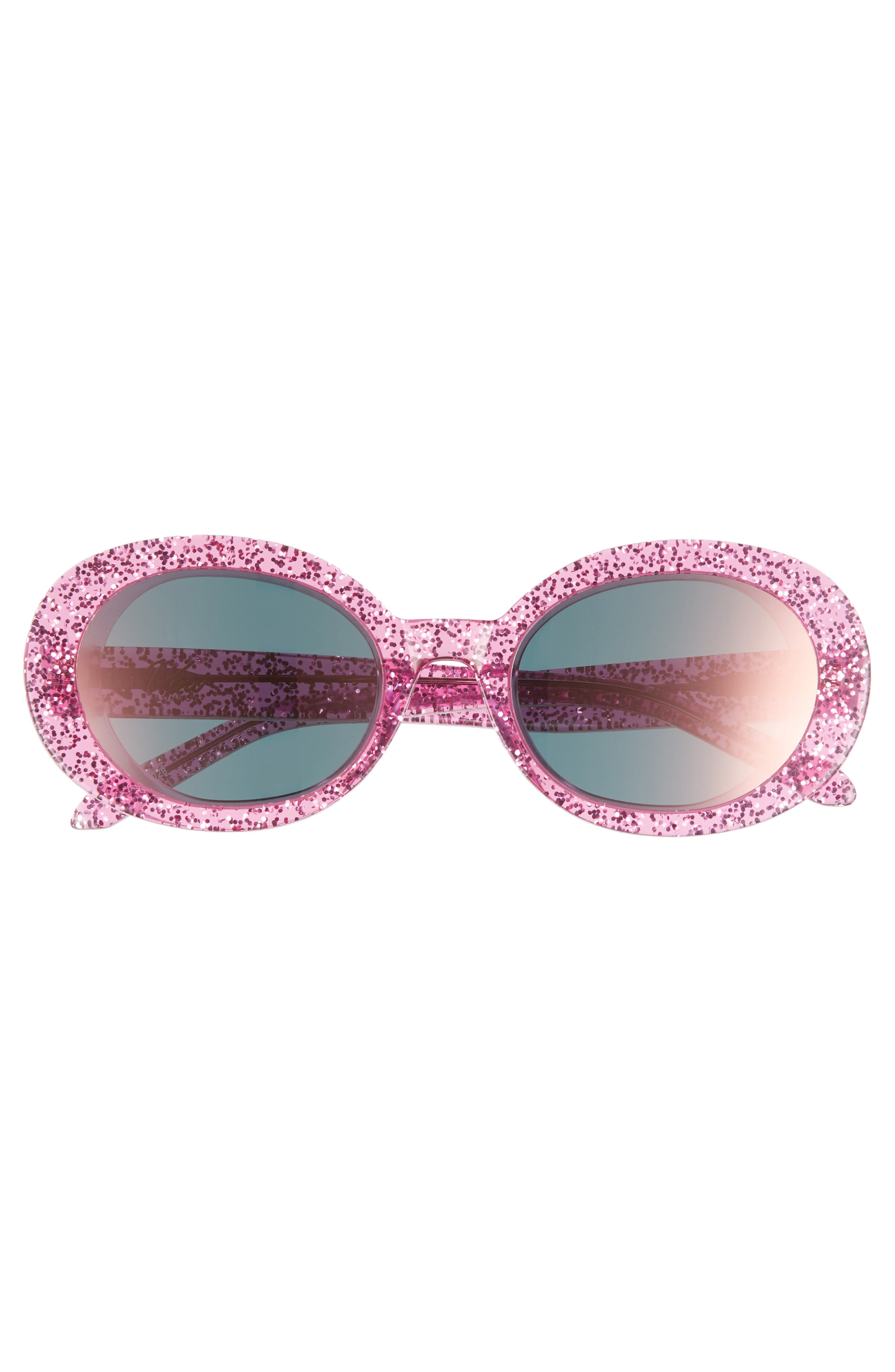 Selena 53mm Oval Sunglasses,                             Alternate thumbnail 3, color,                             Pink Glitter/ Pink Mirror