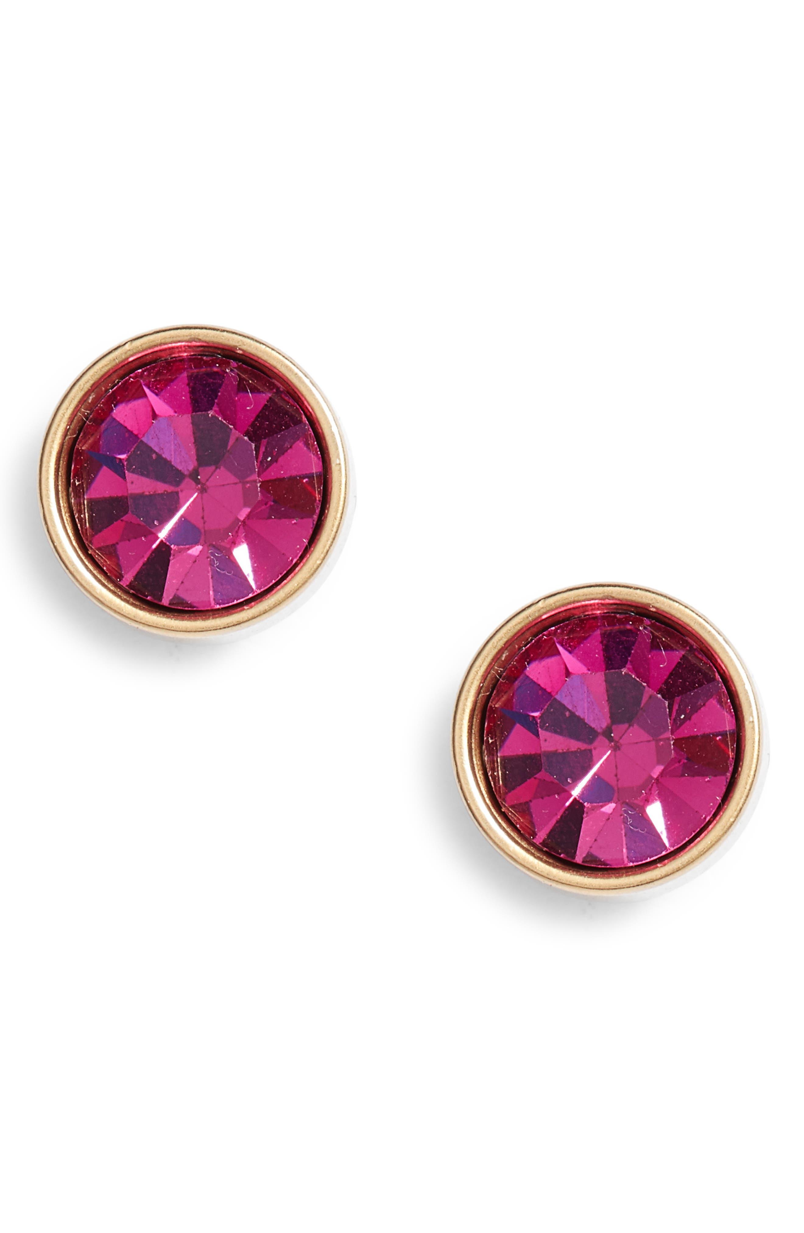 Bezel Set Stud Earrings,                             Main thumbnail 1, color,                             Fuchsia/ Gold