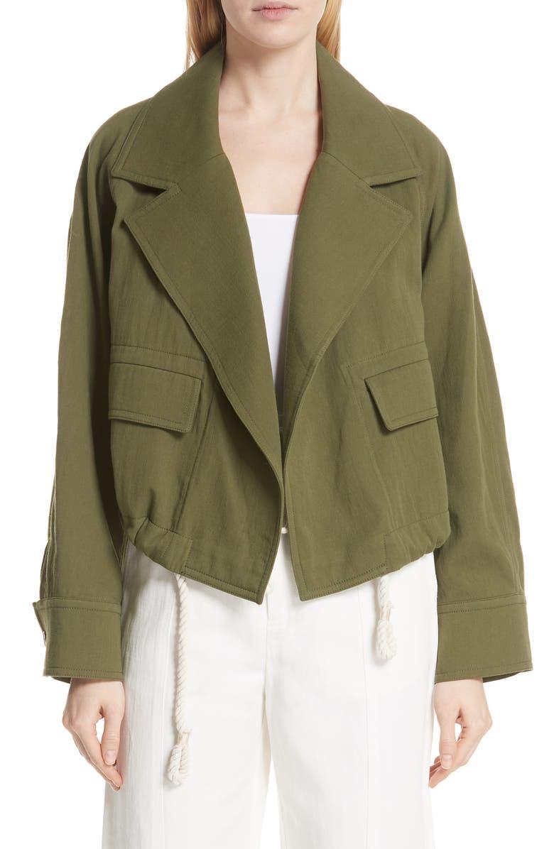 Drawstring Crop Cotton Jacket