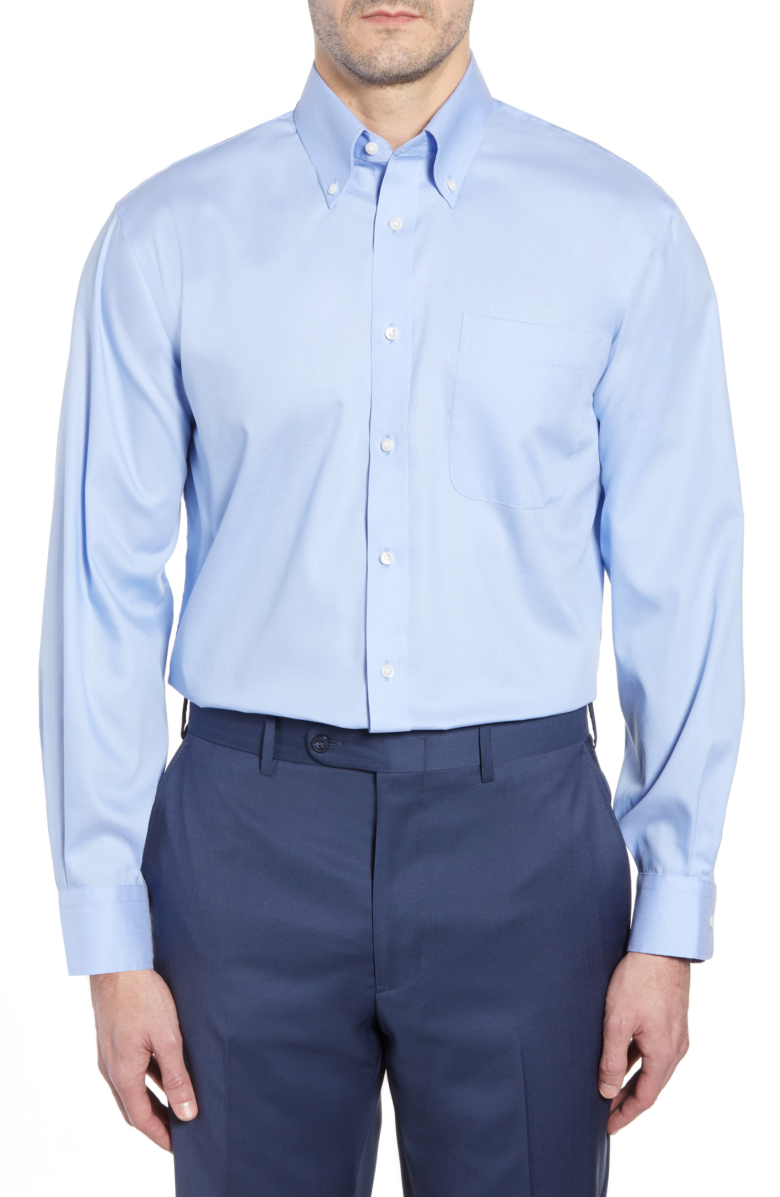Classic Fit Non-Iron Solid Dress Shirt,                         Main,                         color, Blue Hydrangea