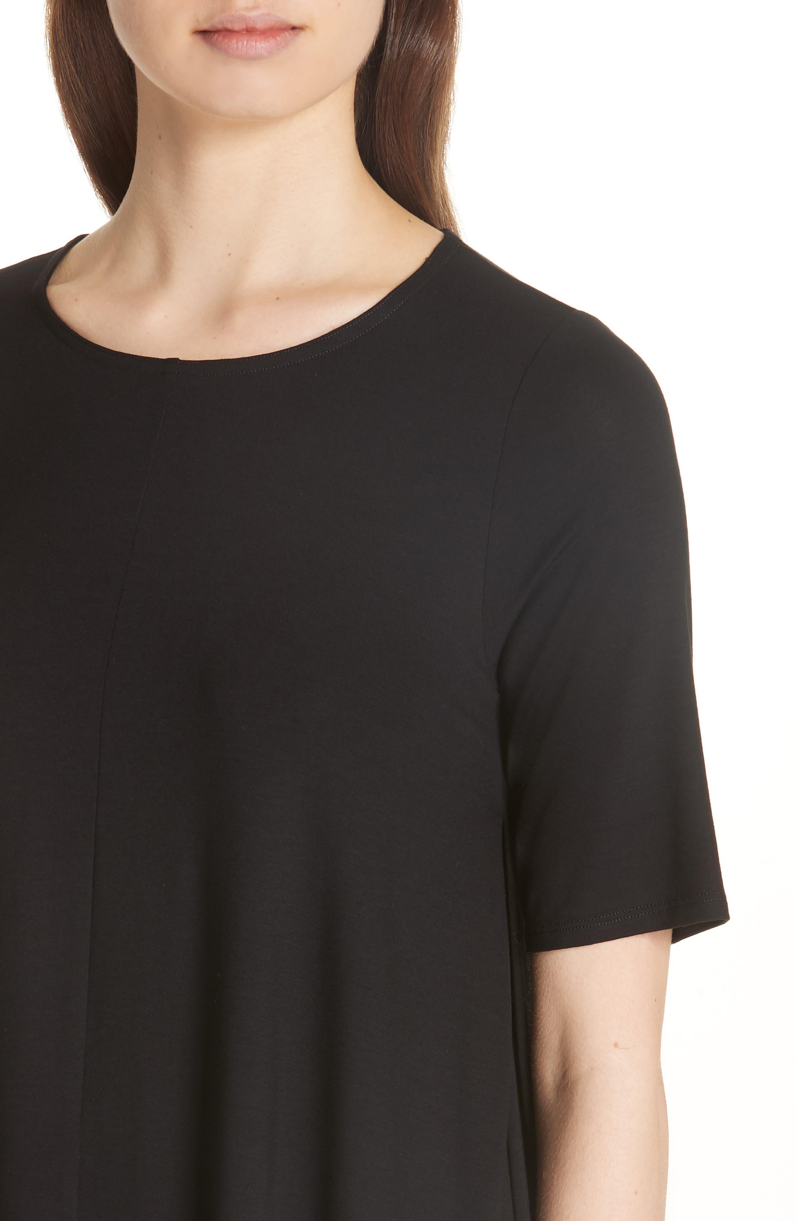 Jewel Neck Elbow Sleeve Tunic,                             Alternate thumbnail 5, color,                             Black
