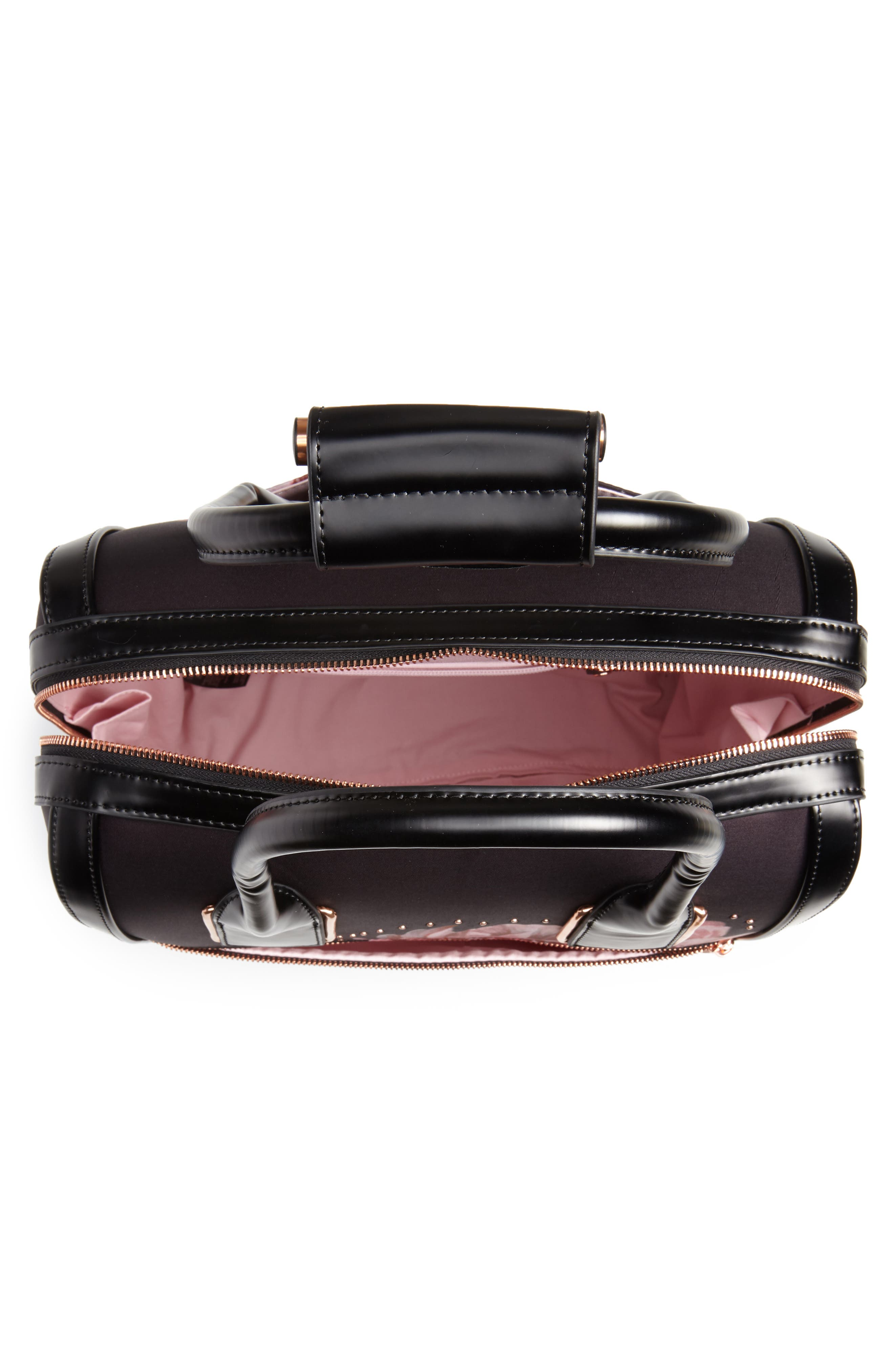 Tranquility Rolling Faux Leather Travel Bag,                             Alternate thumbnail 2, color,                             Black