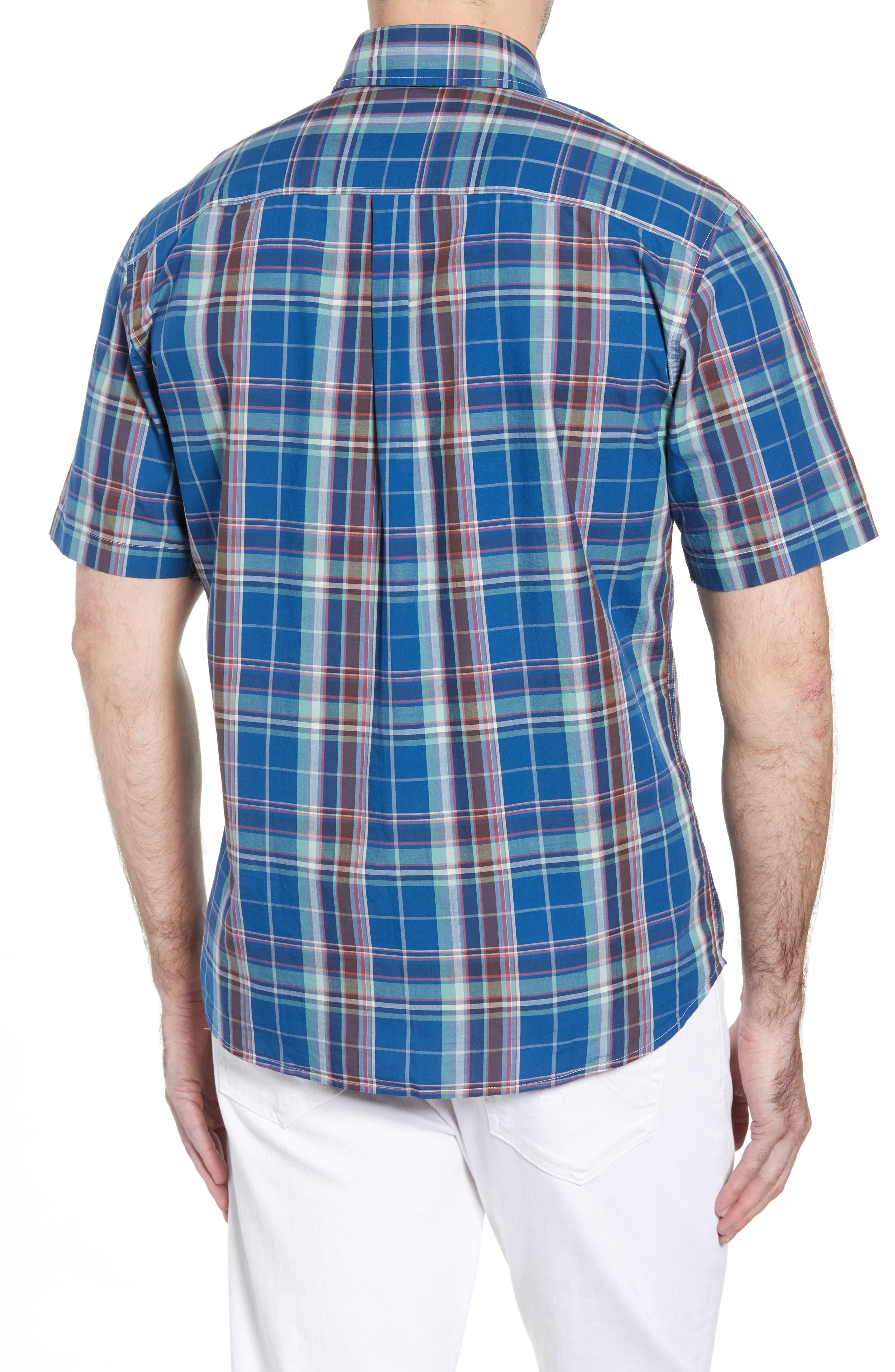 Exum Classic Fit Plaid Sport Shirt,                             Alternate thumbnail 4, color,                             Lake